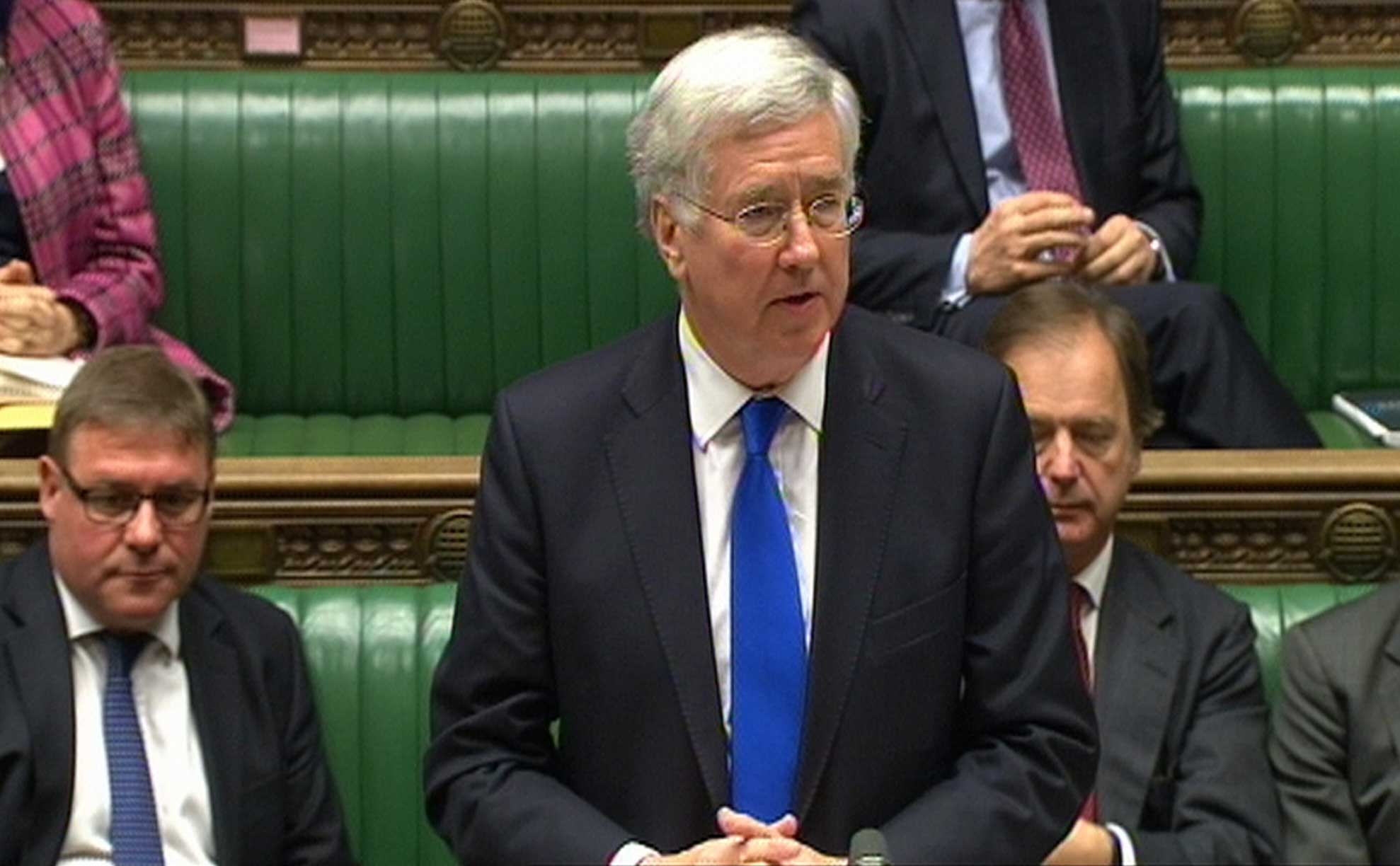 Defence Secretary Michael Fallon makes a statement to MPs in the House of Commons saying that Britain is to bolster the defences of the Falklands, in London on Tuesday March 24, 2015.