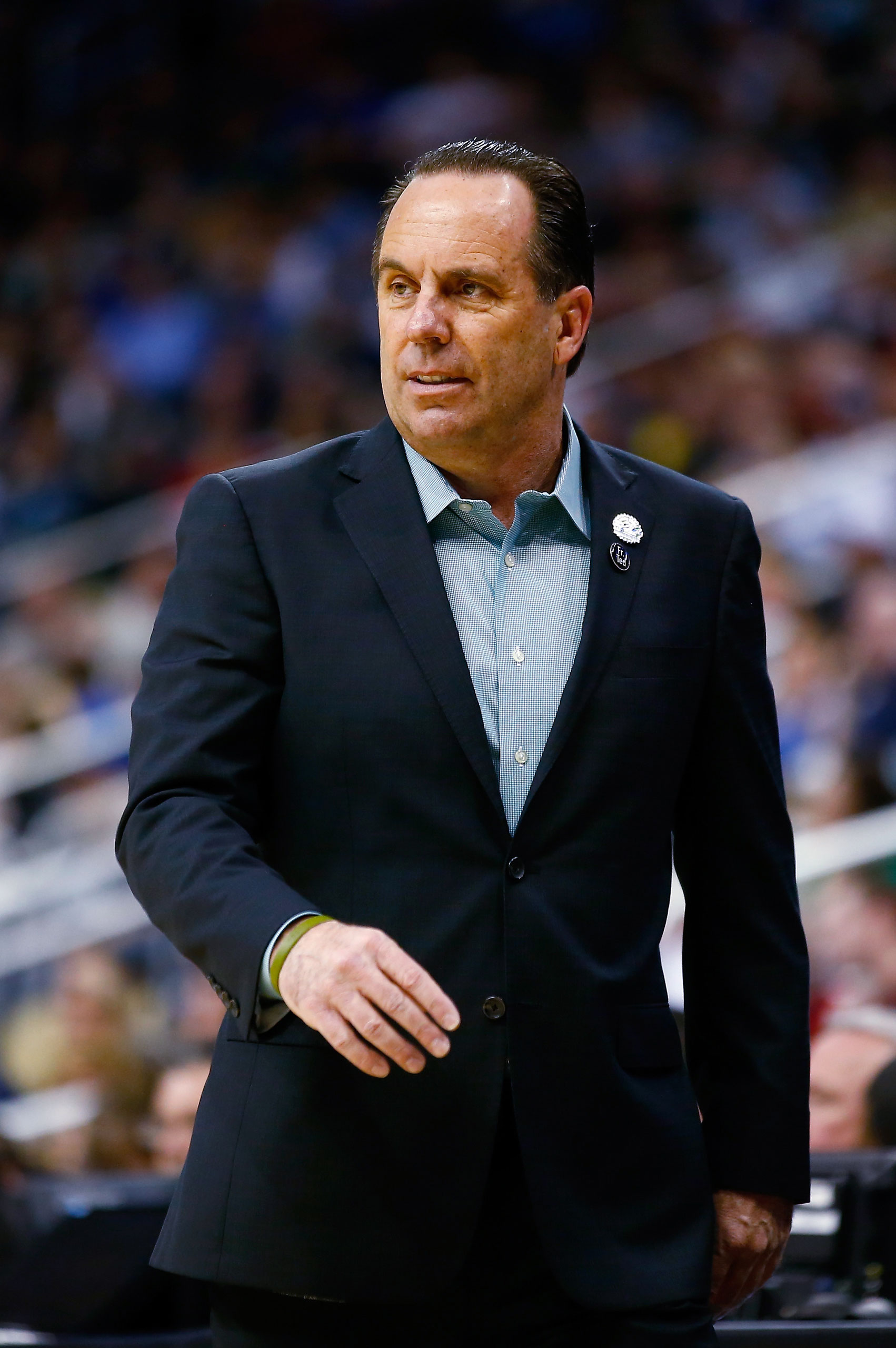 Head coach Mike Brey of the Notre Dame Fighting Irish watches during the first half against the Butler Bulldogs during the third round of the 2015 NCAA Men's Basketball Tournament on March 21, 2015 in Pittsburgh.