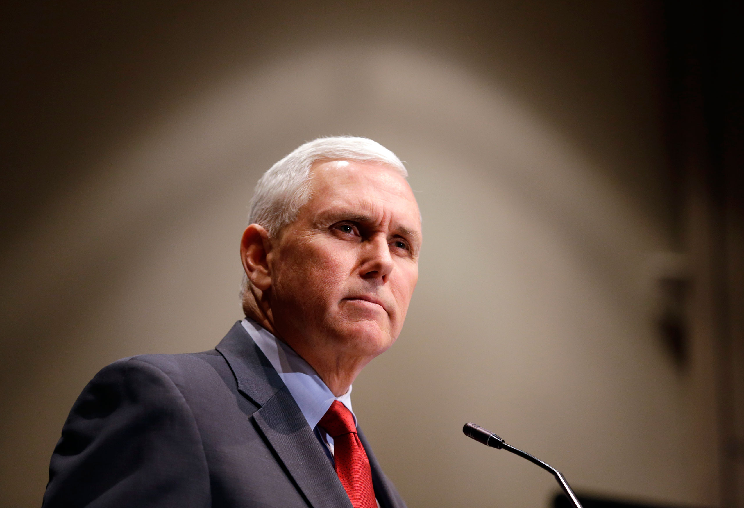Indiana Gov. Mike Pence announces that the Centers for Medicaid and Medicare Services has approved the state's waiver request for the plan his administration calls HIP 2.0, during a speech in Indianapolis.