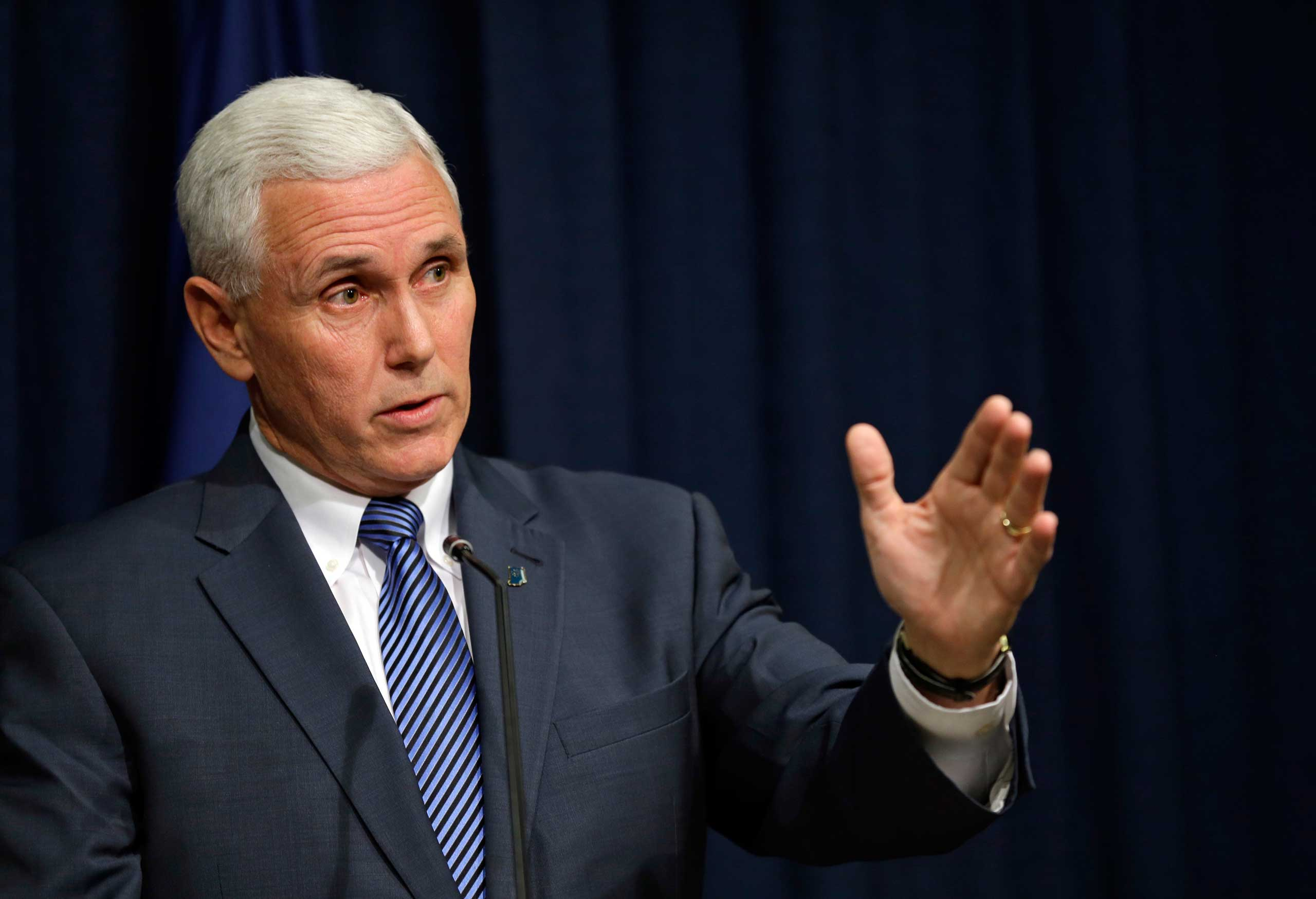 Indiana Gov. Mike Pence holds a news conference at the Statehouse in Indianapolis on March 26, 2015.