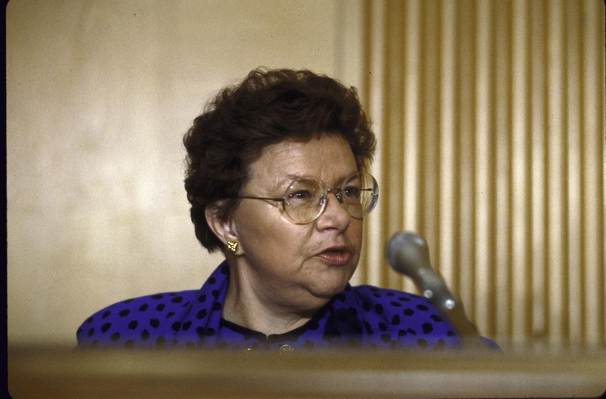 Sen. Barbara A. Mikulski speaking during a Senate Labor Committee hearing in 1987