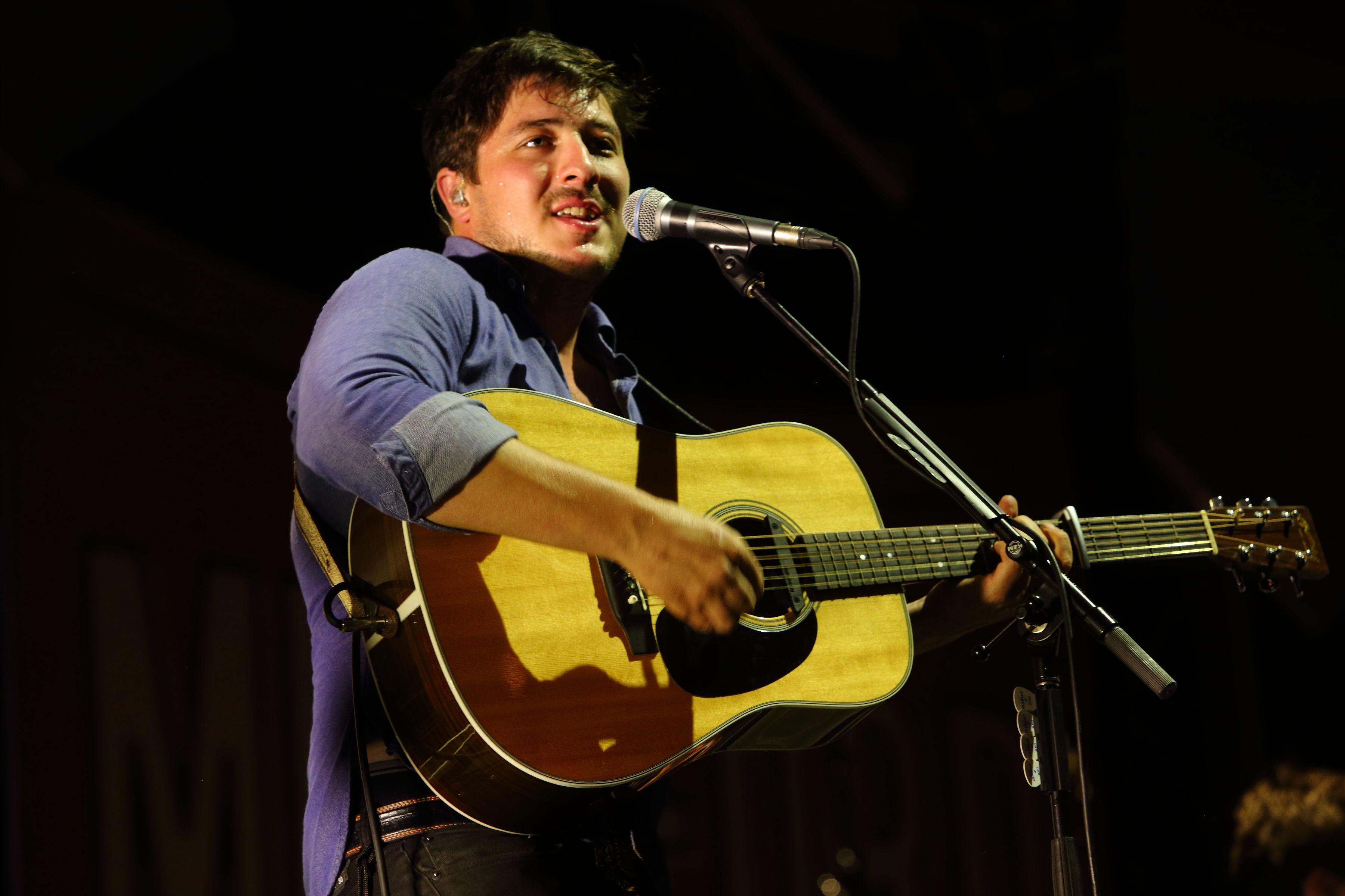 Marcus Mumford of Mumford and Sons performs on day 2 of the Gentlemen of the Road stop at Francis Field on Saturday September 14, 2013 in St. Augustine Fla.
