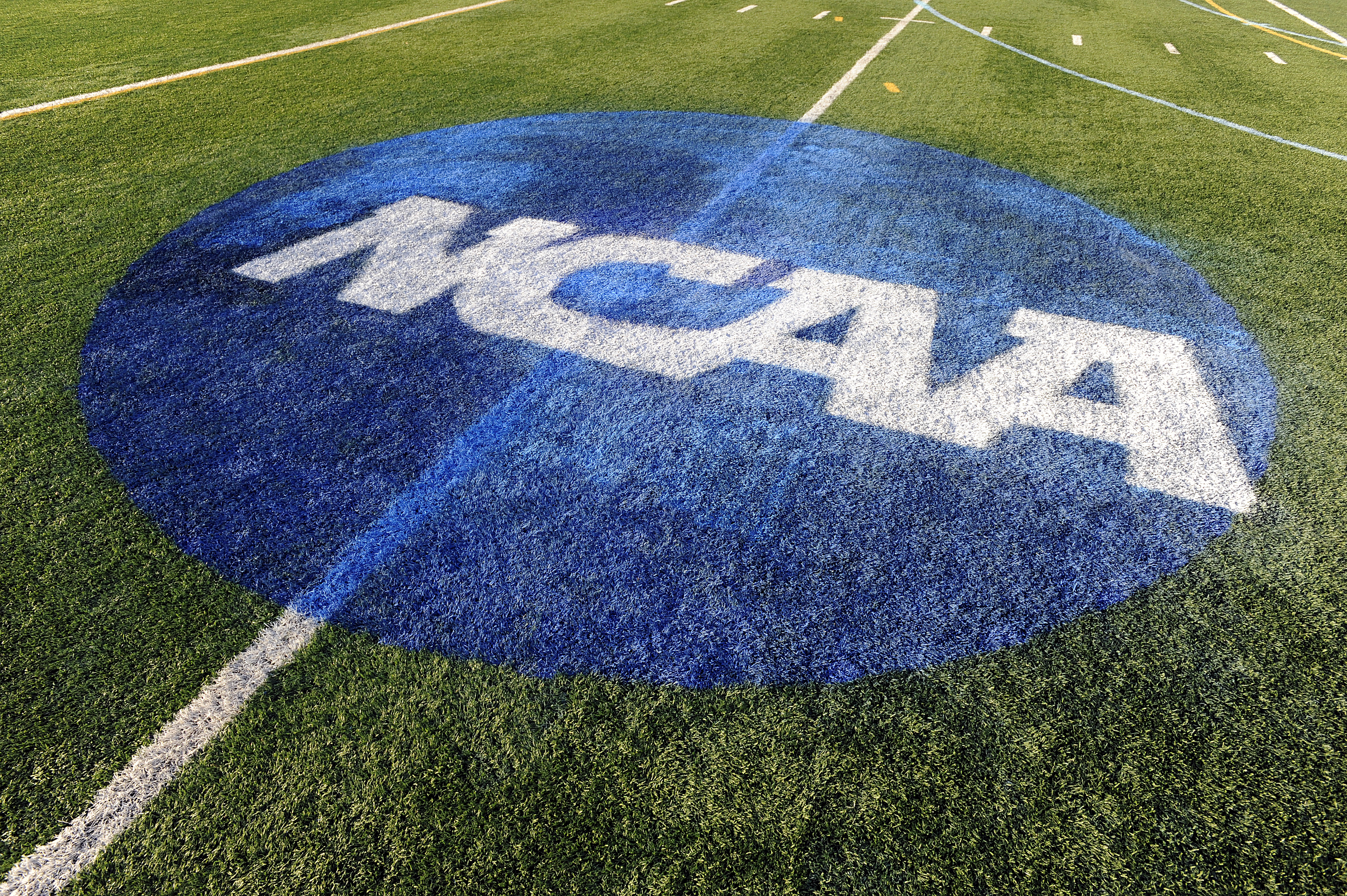 The NCAA logo is shown on the field where the Maryland Terrapins played against the North Carolina Tar Heels during the 2013 NCAA Division I Women's Lacrosse Championship at Villanova Stadium on May 26, 2013 in Villanova, Pennsylvania.