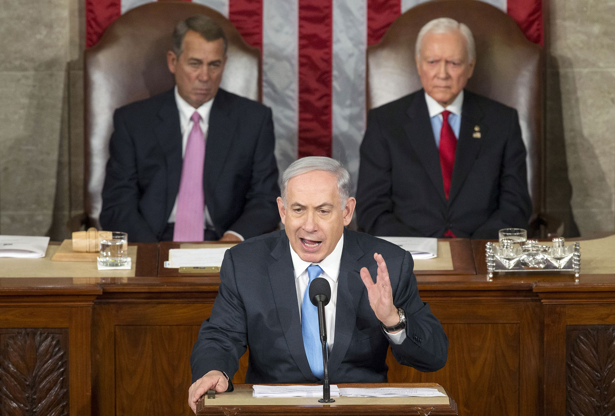 Israeli Prime Minister Benjamin Netanyahu delivers a speech to a joint meeting of Congress on the floor of the US House of Representatives in the US Capitol in Washington, DC on March 3, 2015.
