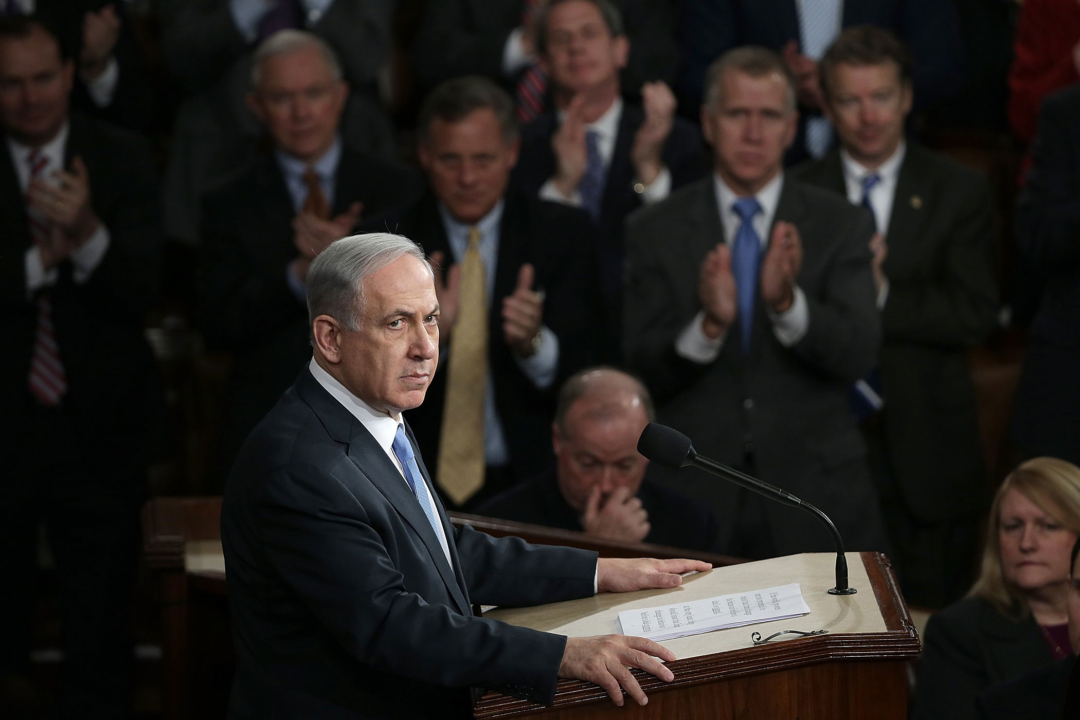 Israeli Prime Minister Benjamin Netanyahu addresses a joint meeting of the United States Congress in the House chamber at the U.S. Capitol on March 3, 2015 in Washington, DC.