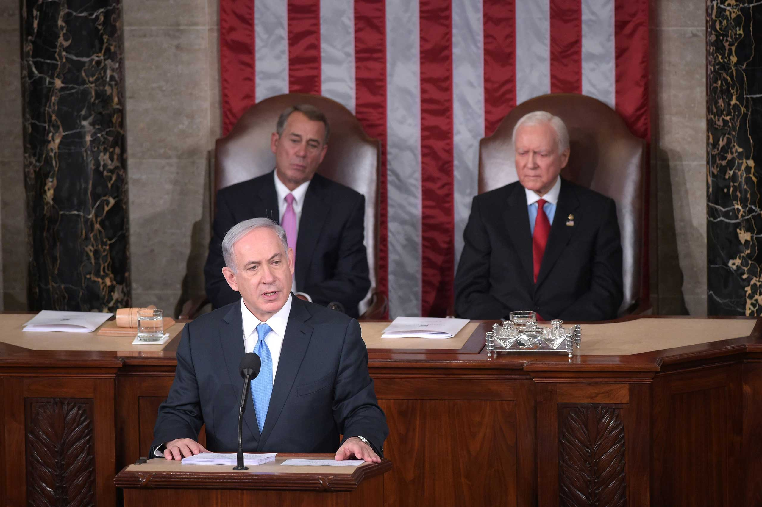 <b>Benjamin Netanyahu</b>, Israeli Prime Minister, addressed Congress on March 3, 2015, urging a stop to the Iran nuclear talks. His policy positions are often controversial, but  he enjoys a privileged position when it comes to visiting the legislature, this was his third visit to Congress.