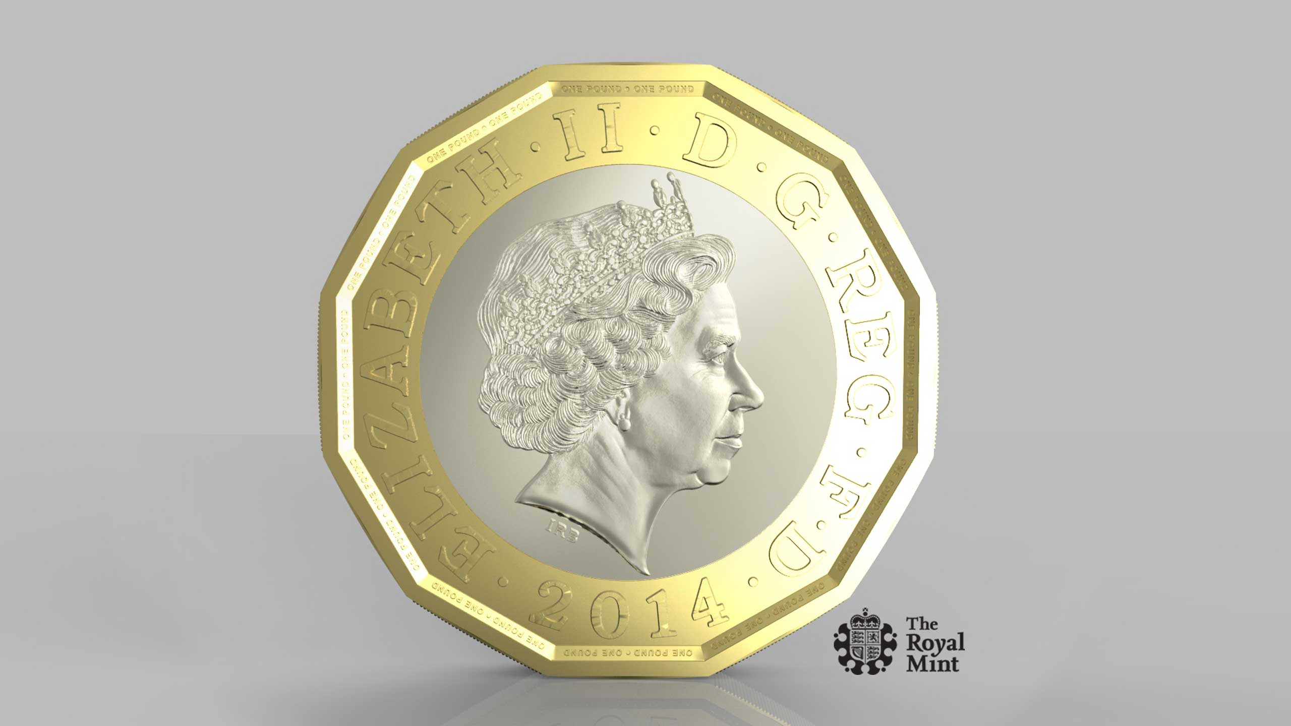 This photo issued by HM Treasury shows the side of a new one pound coin announced by the Government.