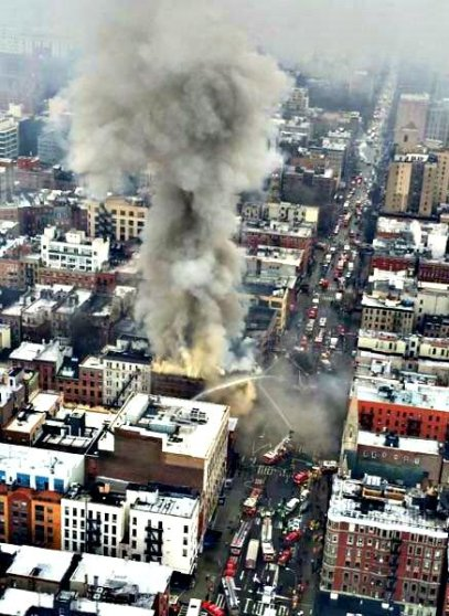 A building fire is seen from overhead in the East Village of New York City on March 26, 2015.