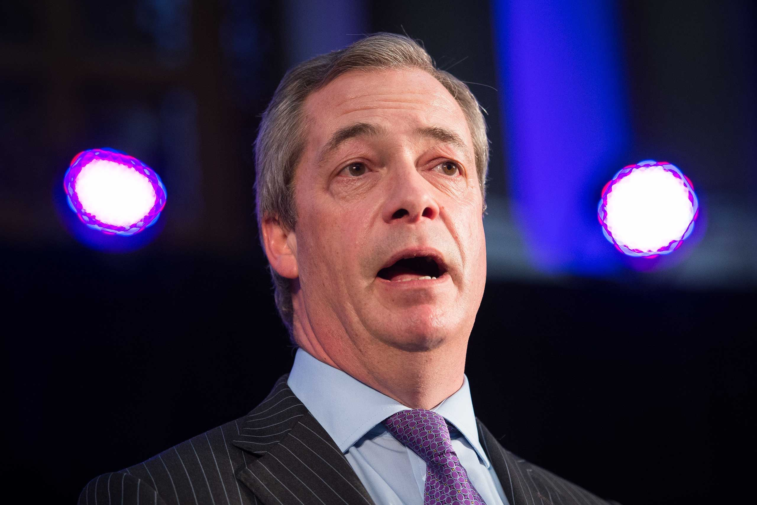 United Kingdom Independence Party (UKIP) leader Nigel Farage addresses supporters and media personnel in central London on March 4, 2015.
