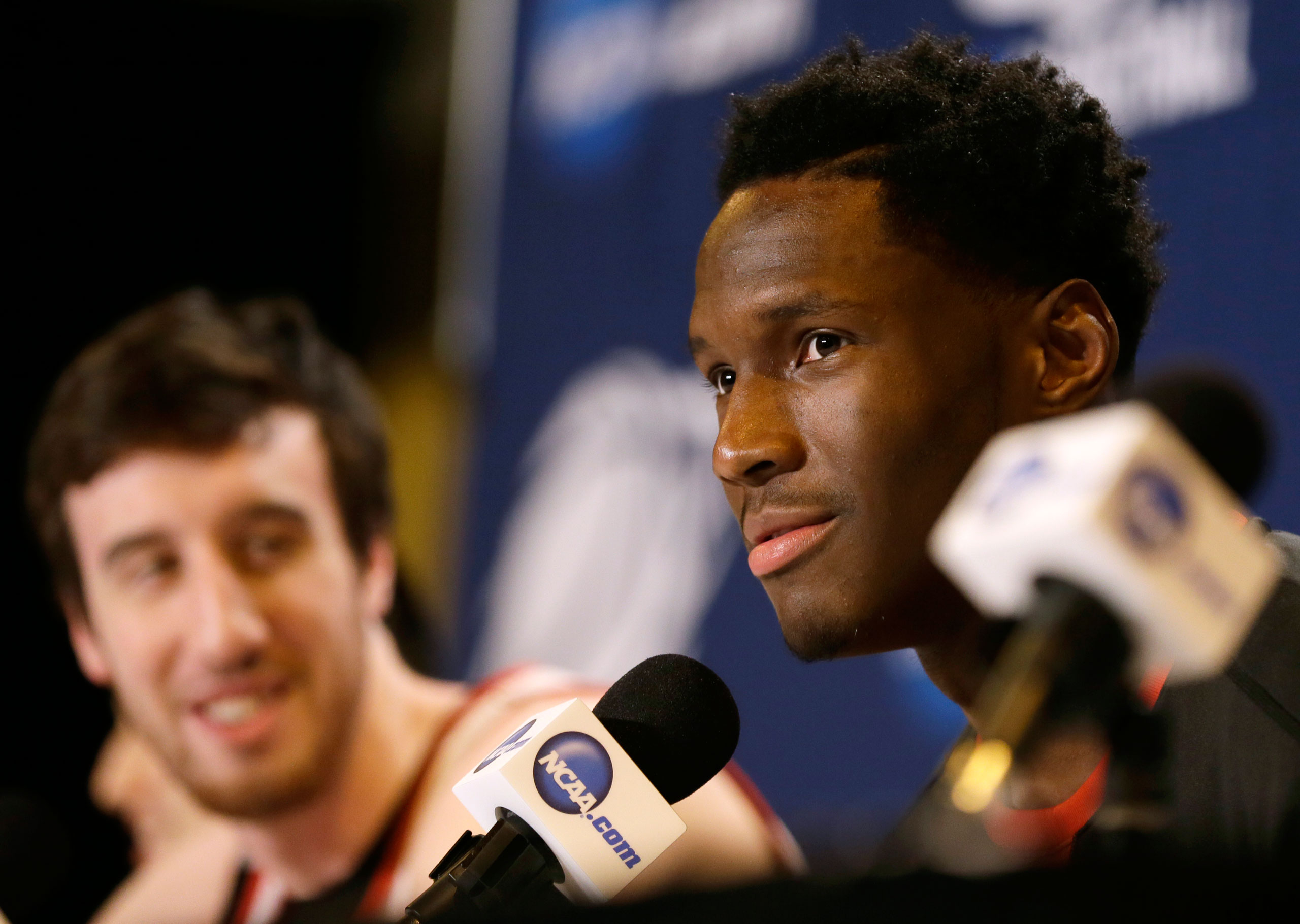 Wisconsin forward Nigel Hayes speaks during a news conference for an NCAA college basketball tournament third round game, March 21, 2015, in Omaha.