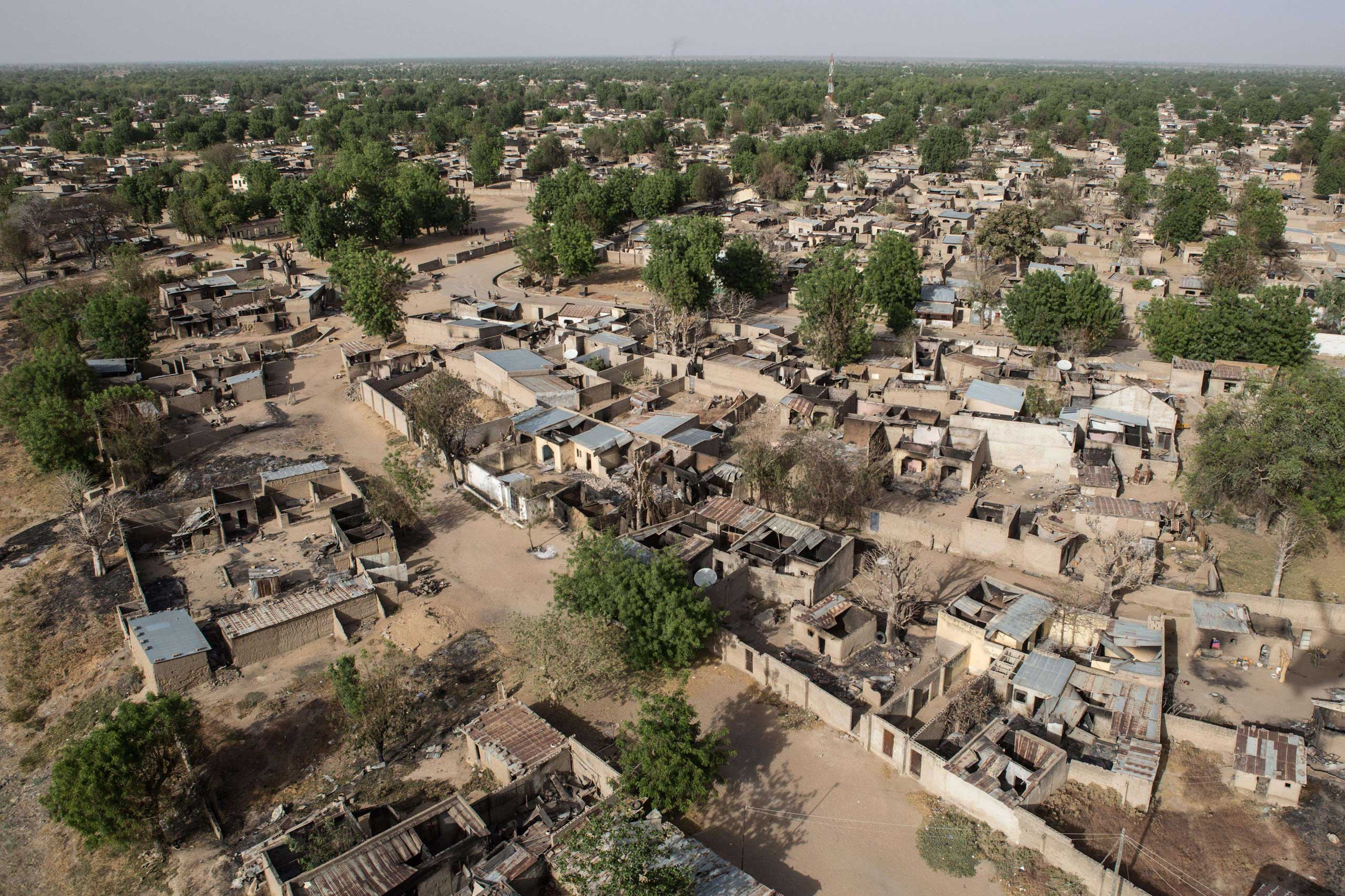 An aerial view of Bama, a northeastern town in Nigeria on March 25, 2015.