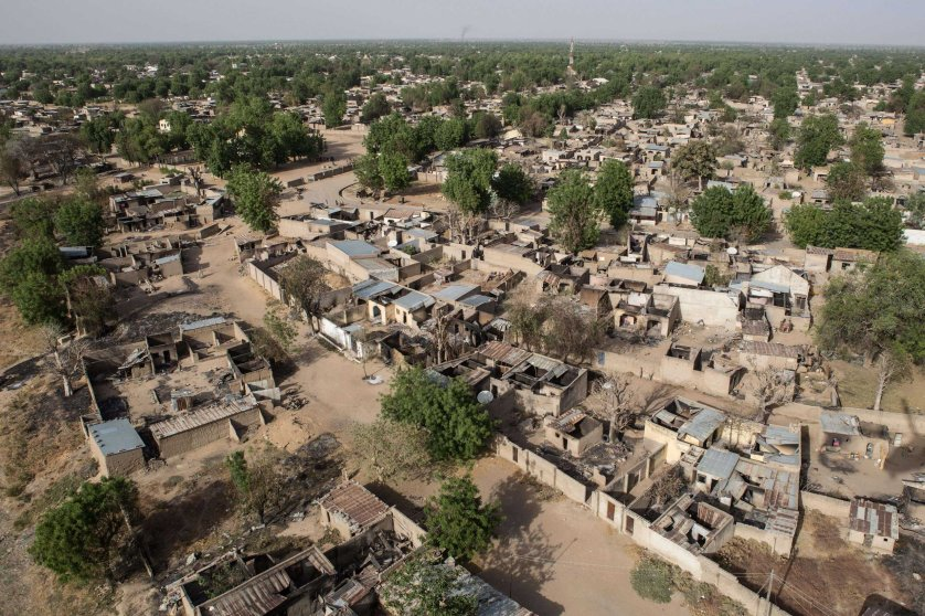 An aerial view of the Nigerian northeastern town of Bama on March 25, 2015.
