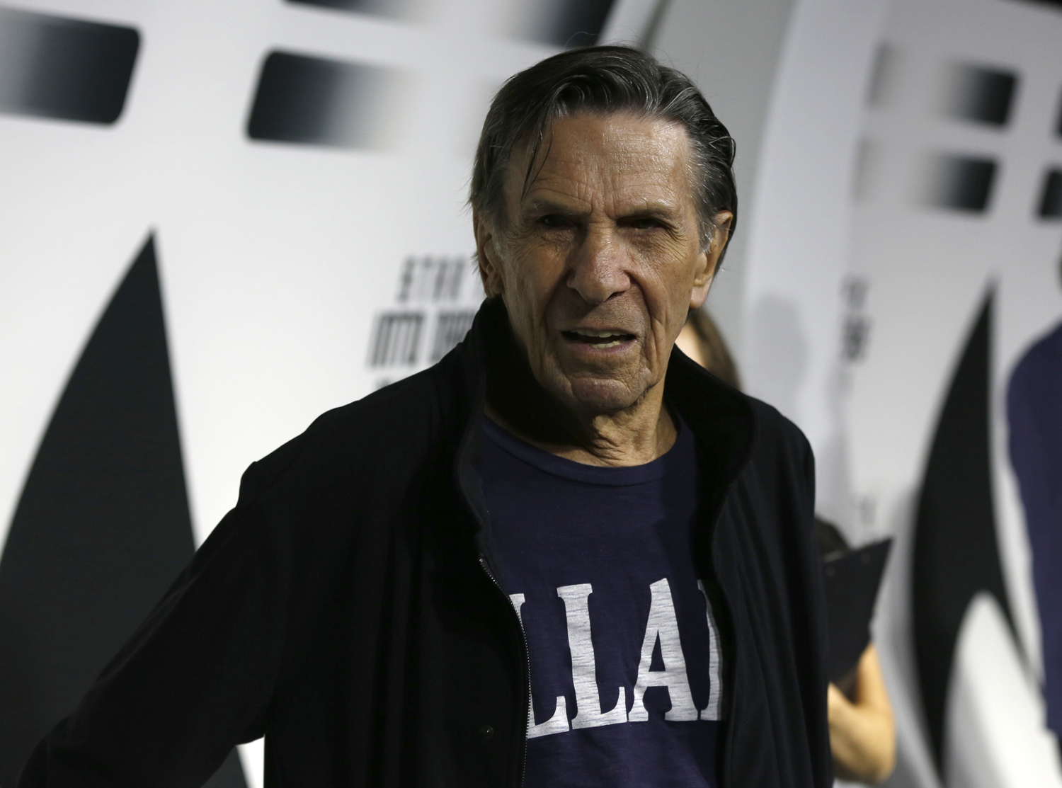 Leonard Nimoy poses at a party celebrating the DVD release of  Star Trek Into Darkness  at the California Science Center in Los Angeles, California on Sept. 10, 2013