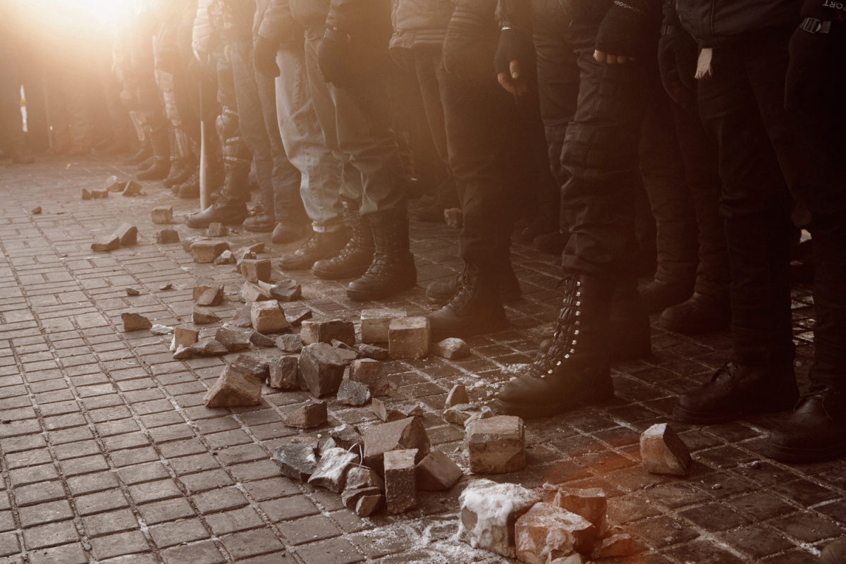 Jan. 27, 2014. Claims have been made that right wing militants are hijacking the Ukrainian revolution. On Monday evening a group of recruits went through military tactical exercises in Independence square, Kiev, Ukraine