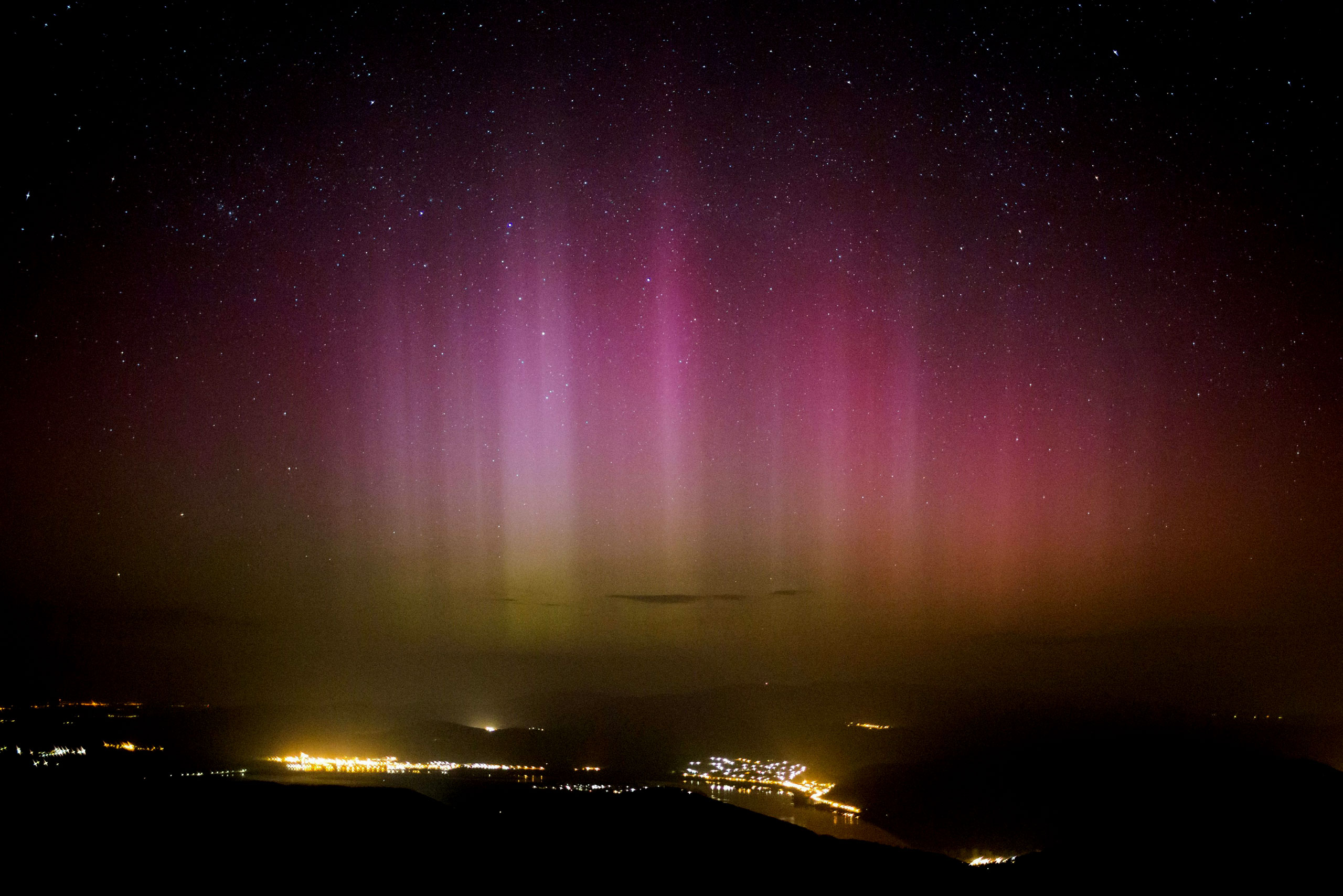 The Northern Lights (Aurora borealis) are seen on the sky above Pilisszentkereszt, Hungary, on March 18, 2015.