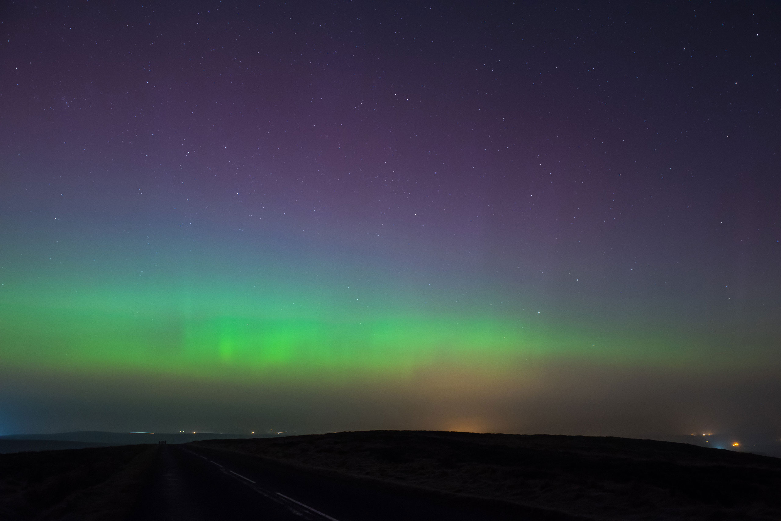 The Northern Lights above the Staffordshire moorlands in England on March 17, 2015.