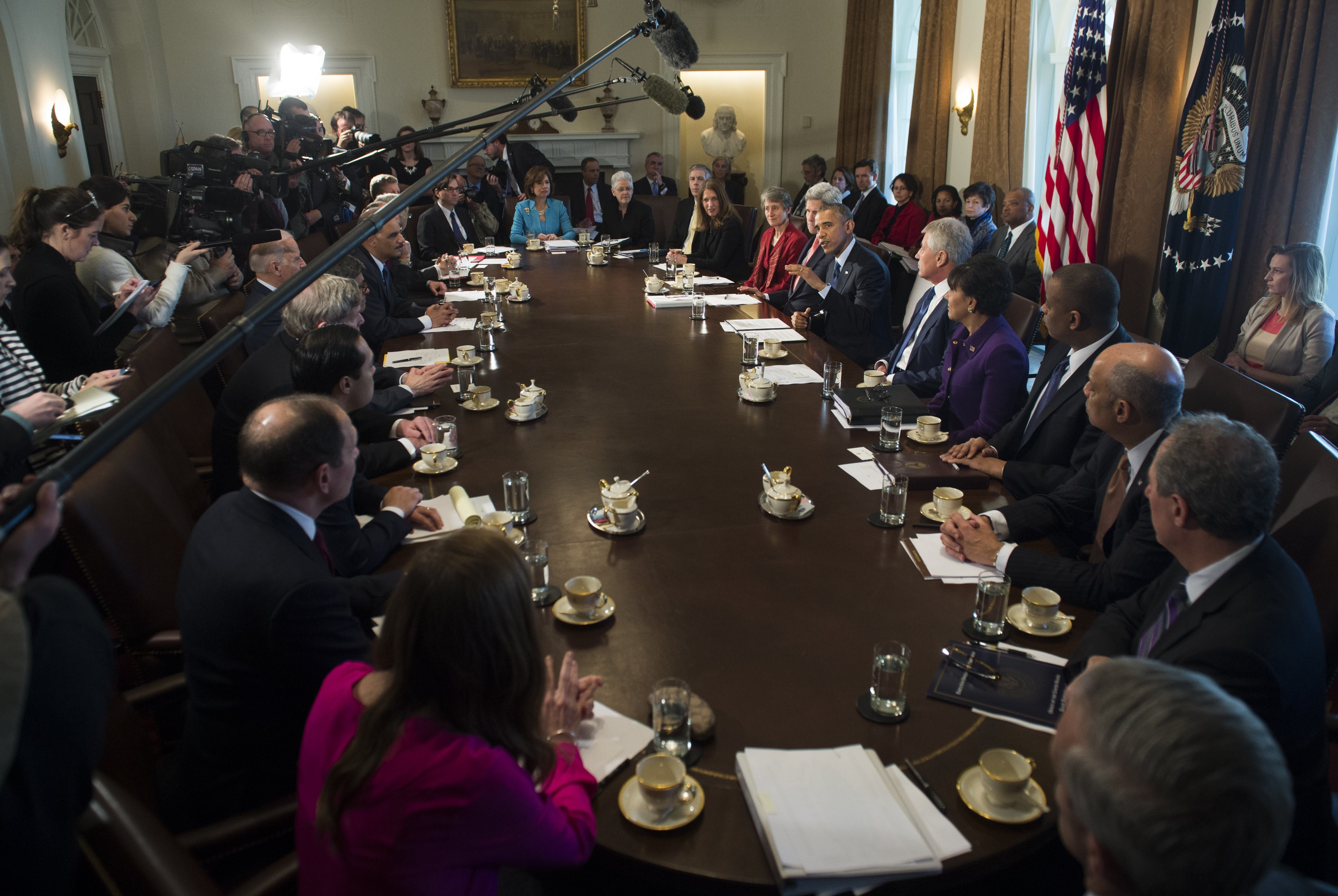 US President Barack Obama speaks during a Cabinet Meeting in the Cabinet Room of the White House in Washington on Feb. 3, 2015.