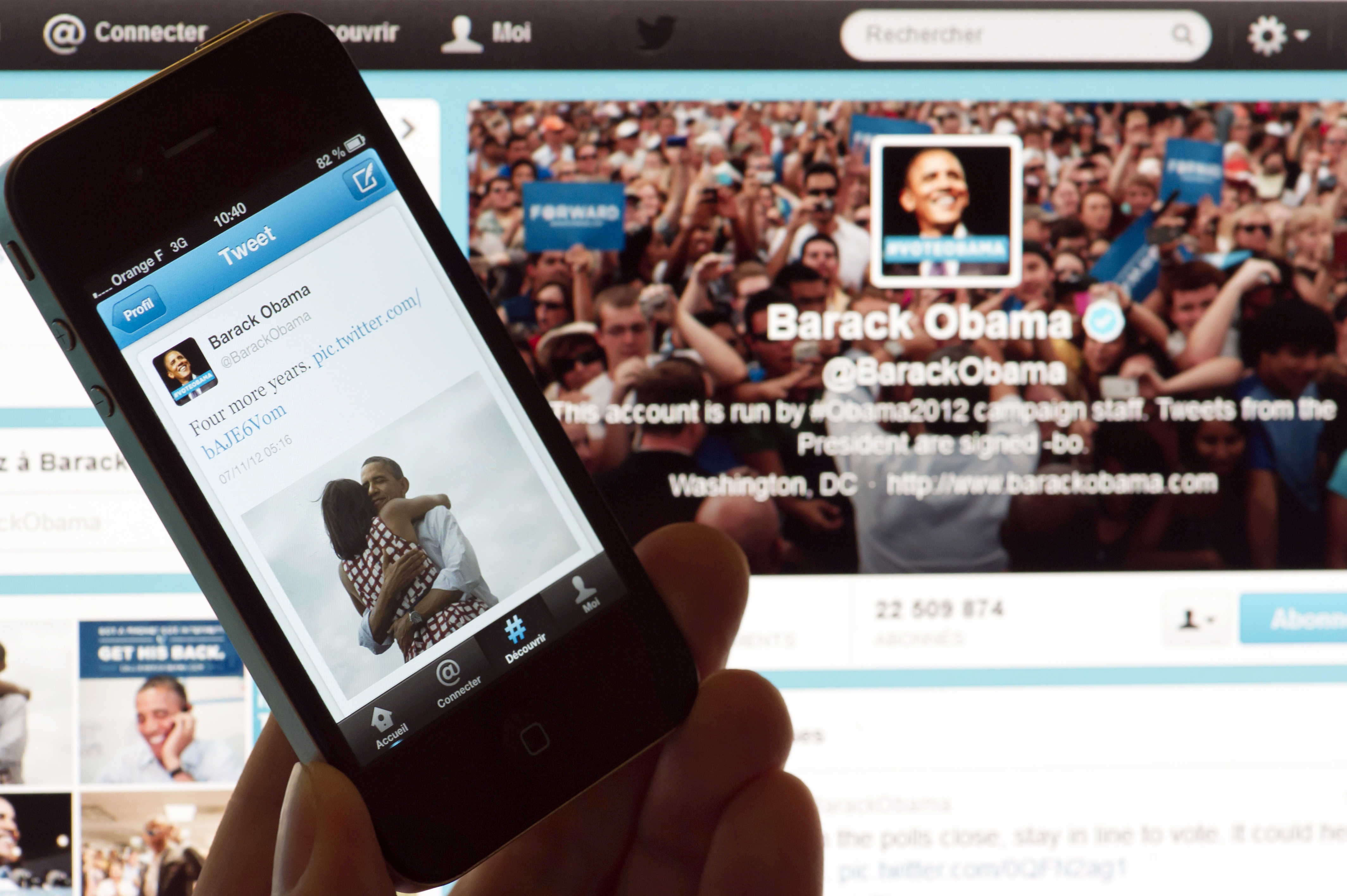 Barack Obama's tweets on Nov. 7, 2012 after his re-election as US president.