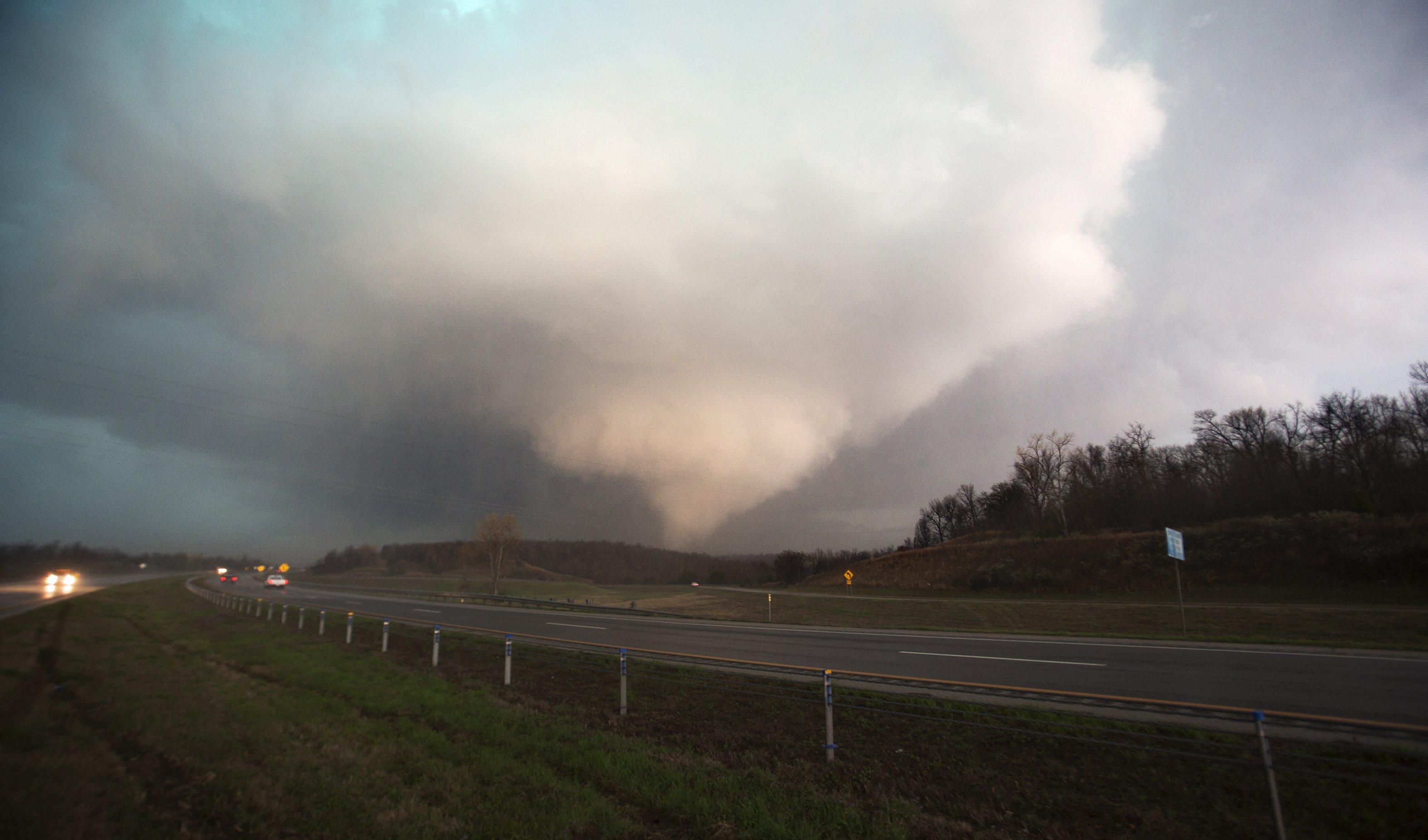A Tornado is seen in Sand Springs, Okla. on March 25, 2015.