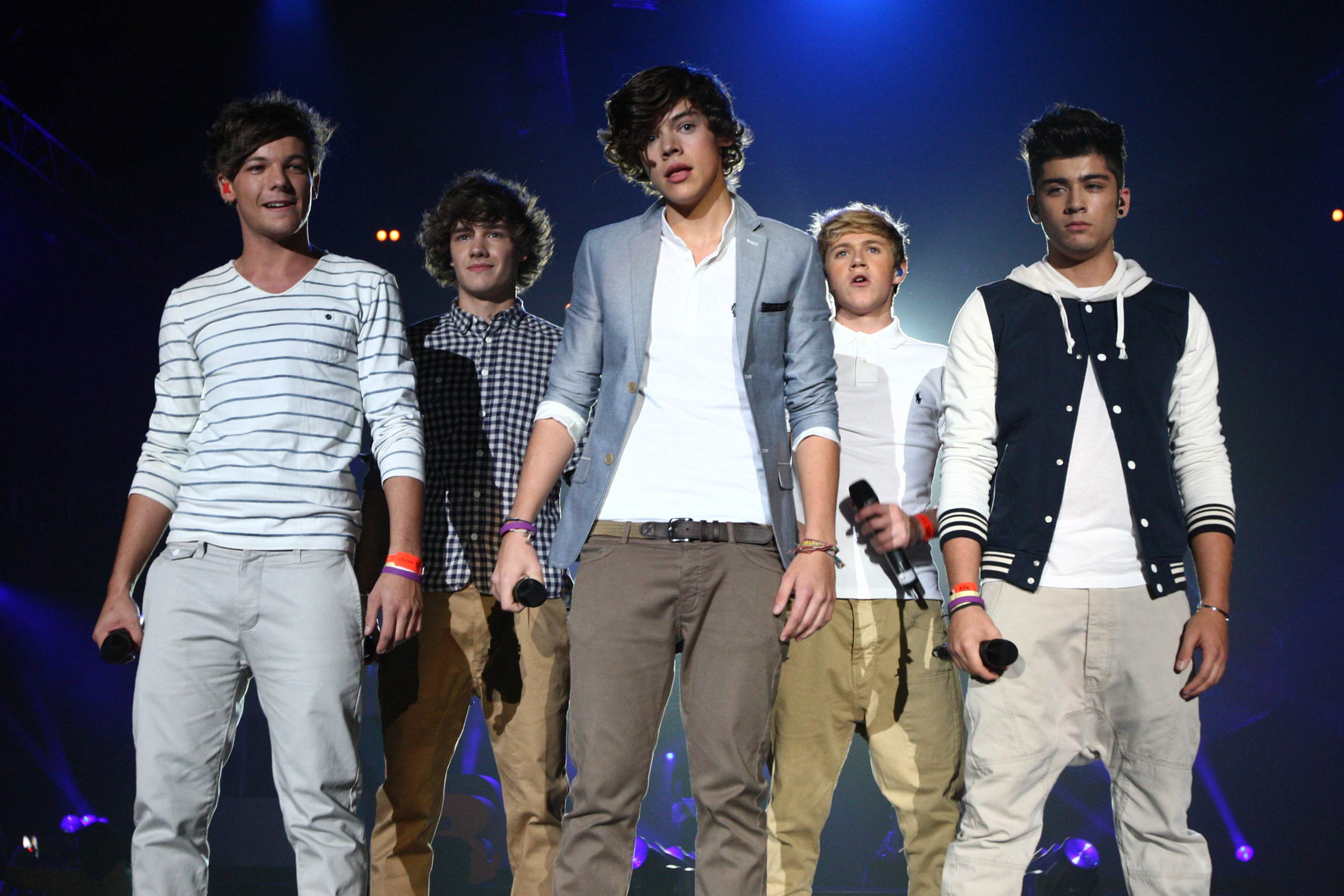 Louis Tomlinson, Liam Payne, Harry Styles, Niall Horan and Zain Malik of One Direction perform at the BBC Teen Awards at Wembley arena in London, England in 2011.