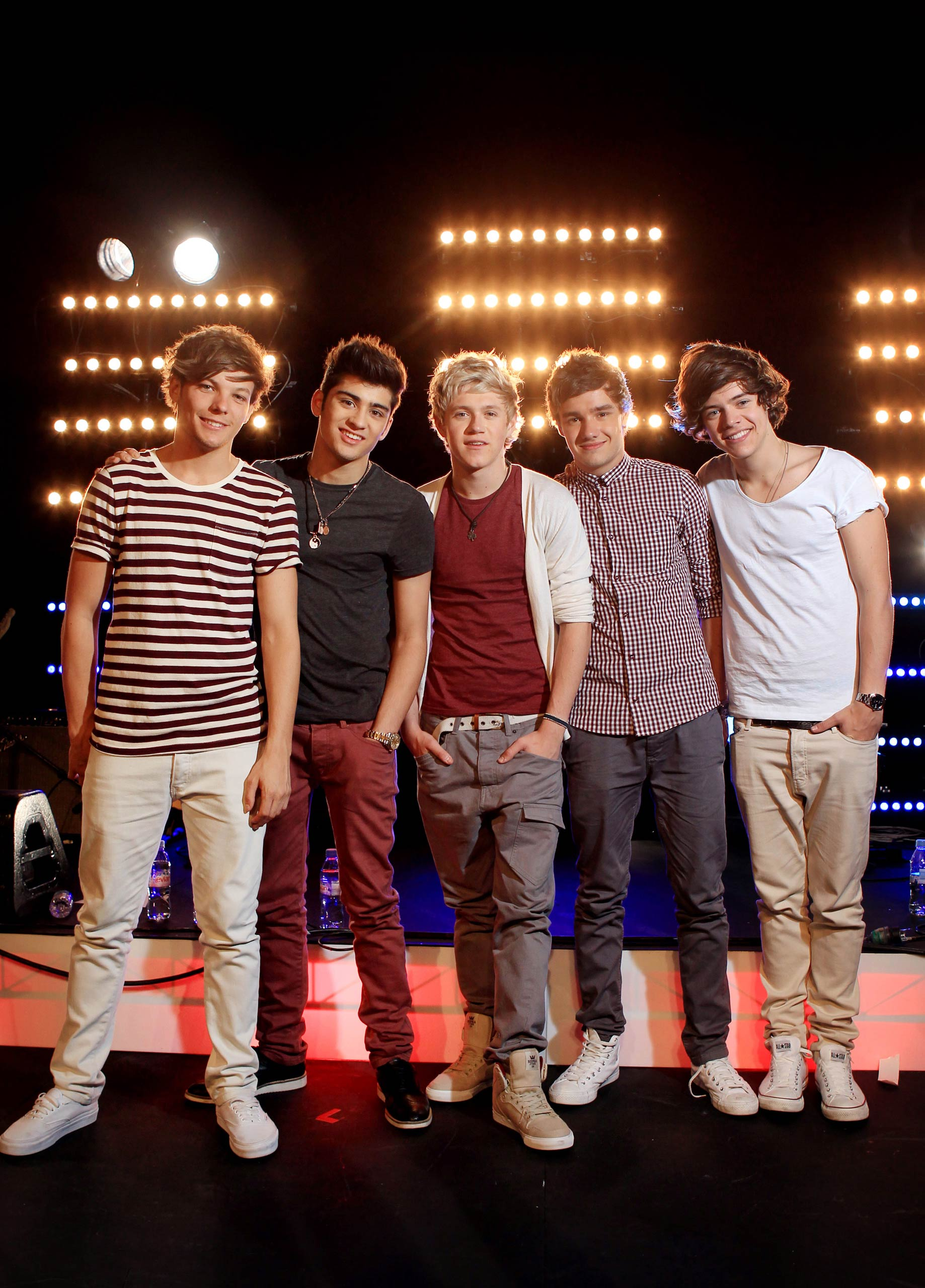 Louis Tomlinson, Zayn Malik, Niall Horan, Liam Payne and Harry Styles of One Direction pose during a portrait shoot at Fox Studios in Sydney, Australia in 2012.