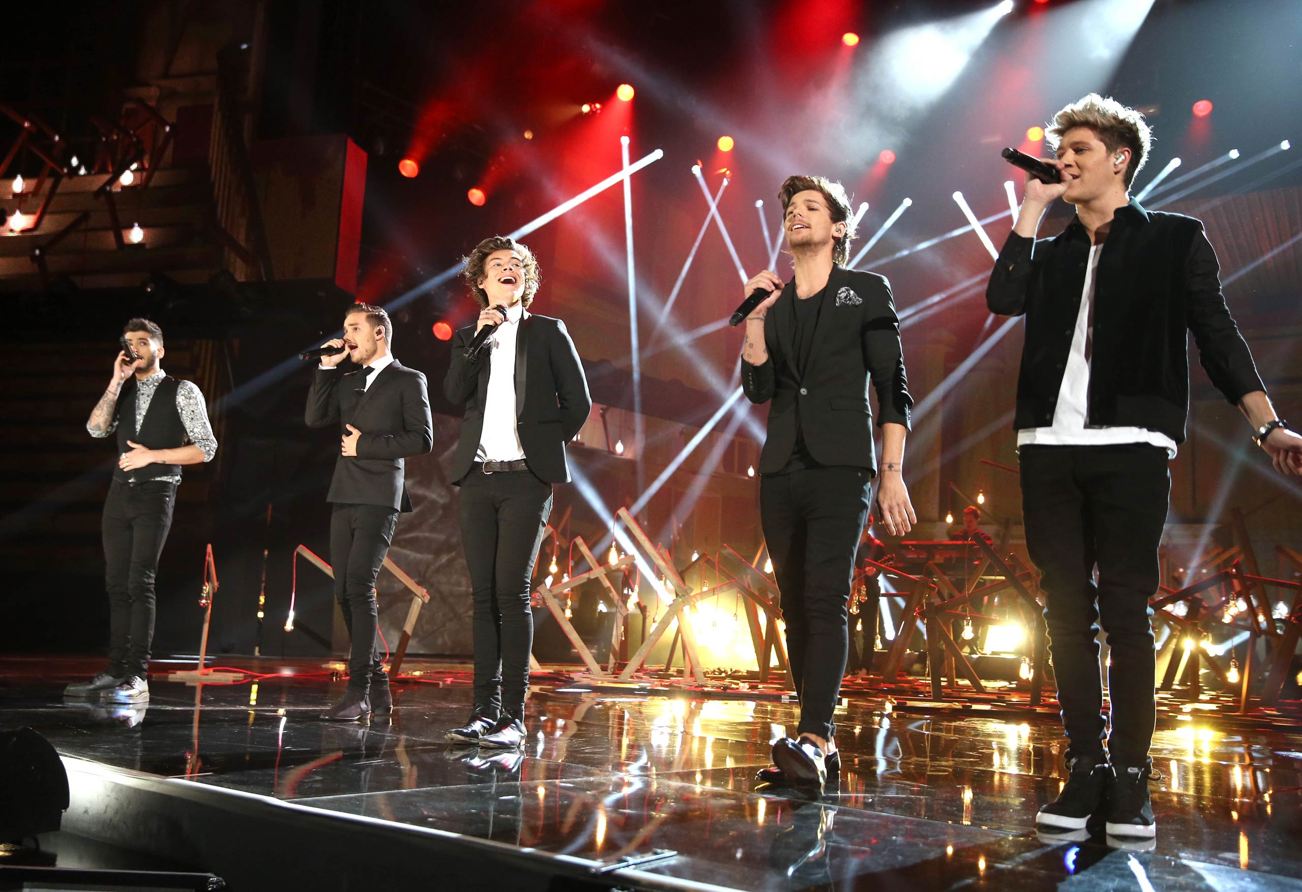 One Direction performs onstage during the 2013 American Music Awards at Nokia Theatre L.A. Live in Los Angeles, Calif. in 2013.