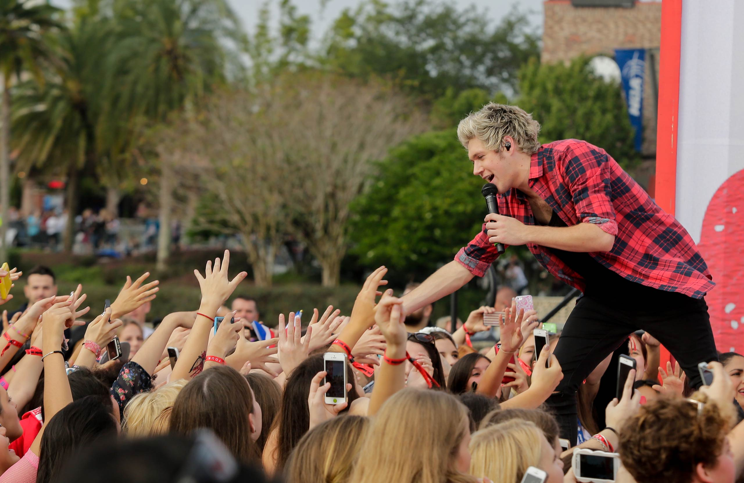 """Niall Horan of One Direction appears on NBC's <i>Today Show</i> to release their new album """"Four"""" at Universal City Walk At Universal Orlando on Nov. 17, 2014 in Orlando, Fla."""