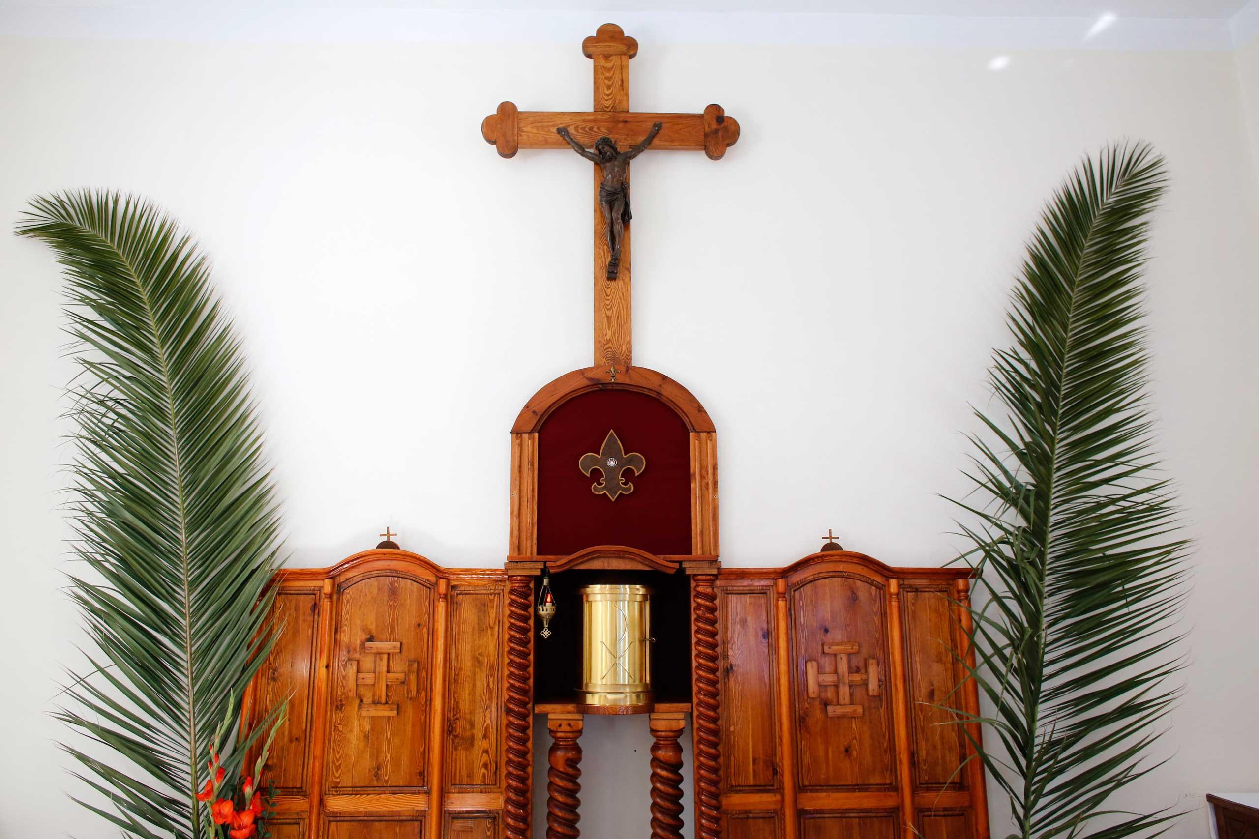 Palm Sunday in a catholic chapel