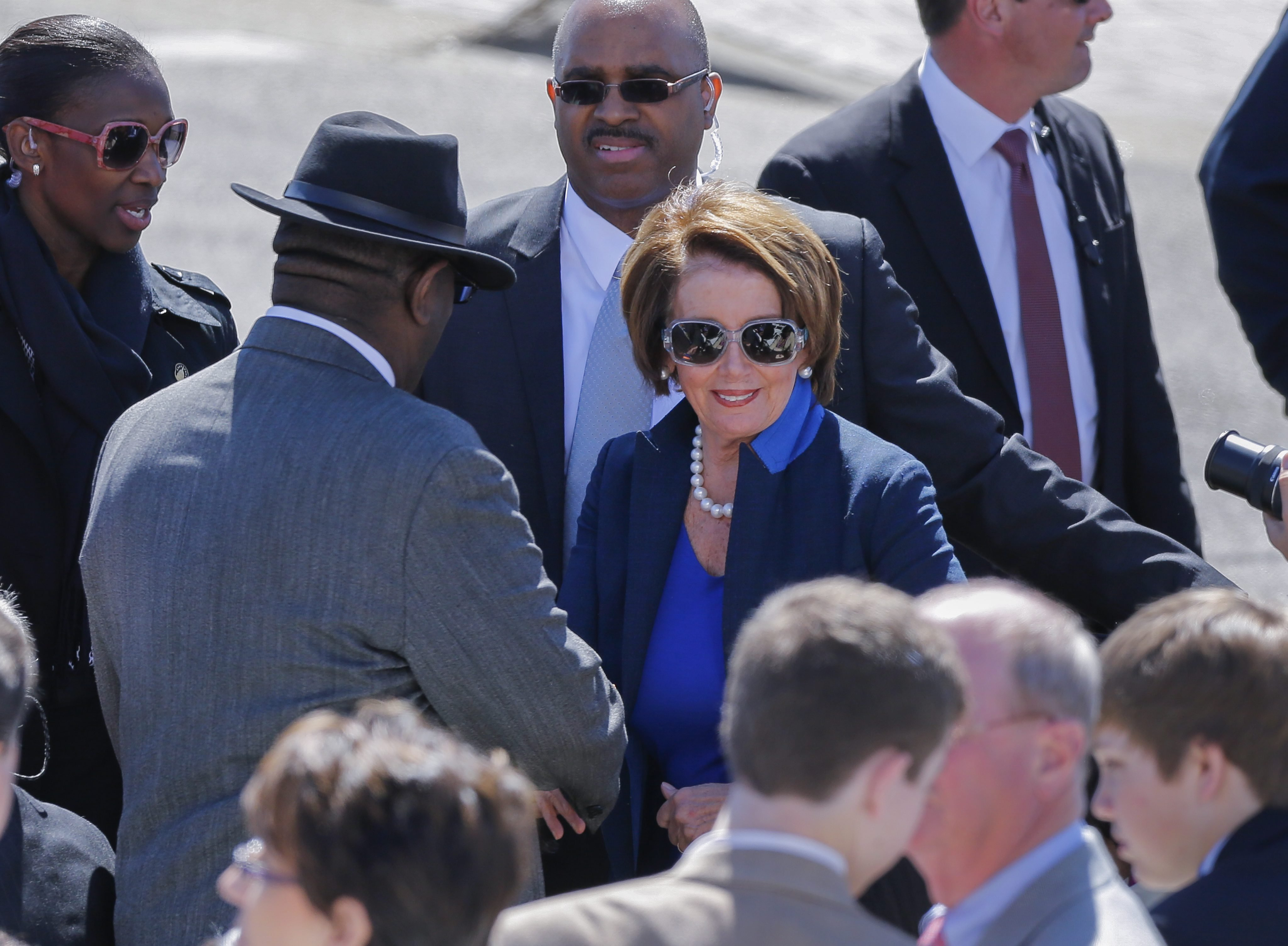 US House of Representative Minority Leader Nancy Pelosi arrives for activities commemorating the 50th anniversary of the Bloody Sunday crossing of the Edmund Pettus Bridge in Selma, Ala. on March 7, 2015.