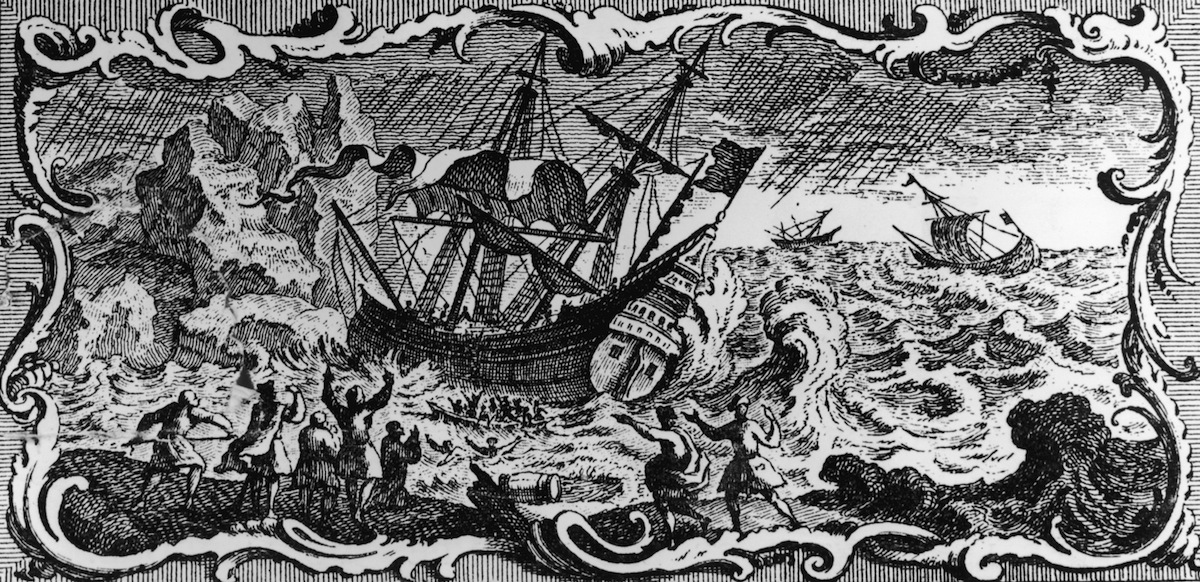 A pirate ship oencounters bad weather off the Barbary Coast of North Africa, circa 1650. An engraving by A. Maisonneuve after A. Humblot.