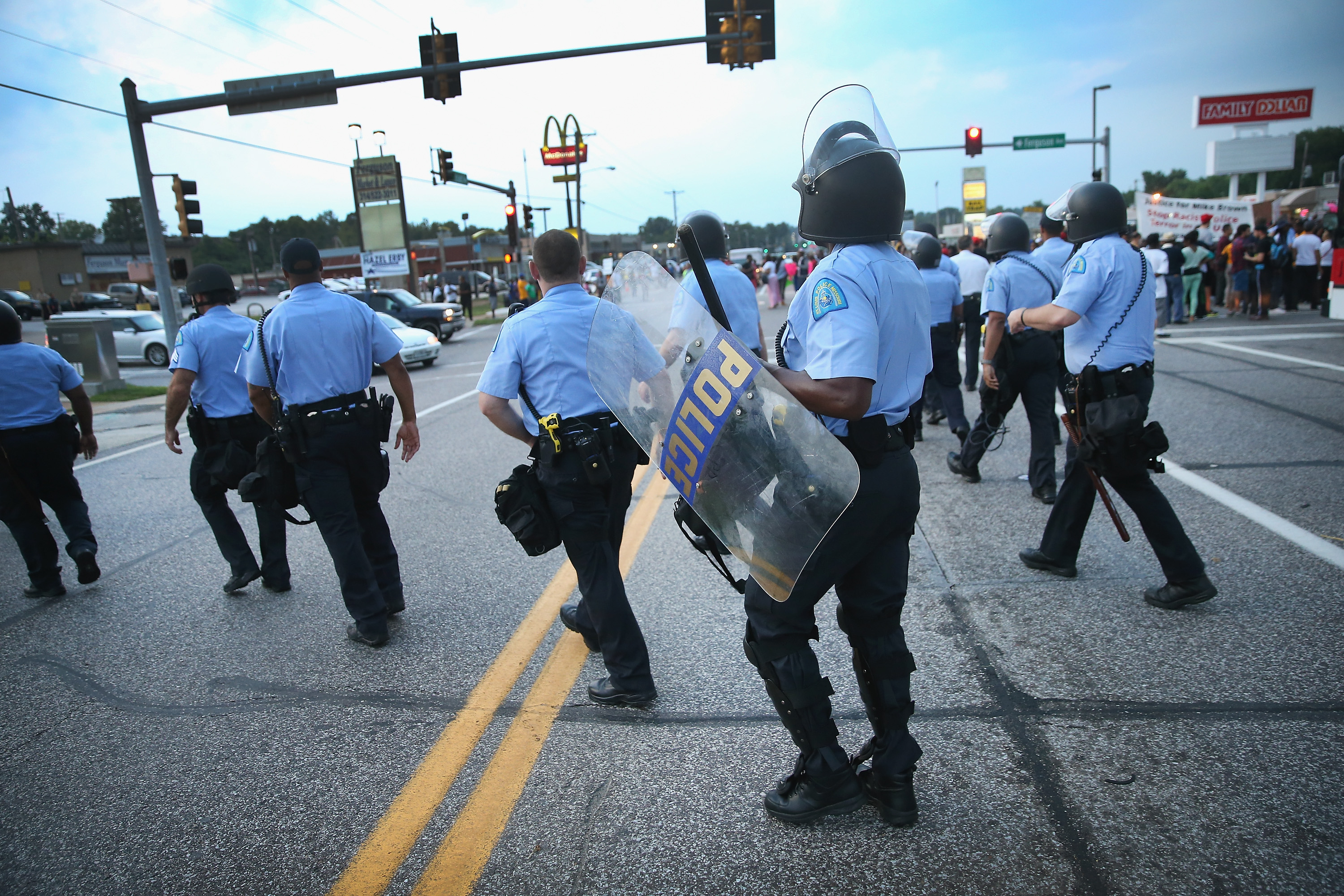 Police are deployed to keep peace along Florissant Avenue on Aug. 16, 2014 in Ferguson, Missouri.