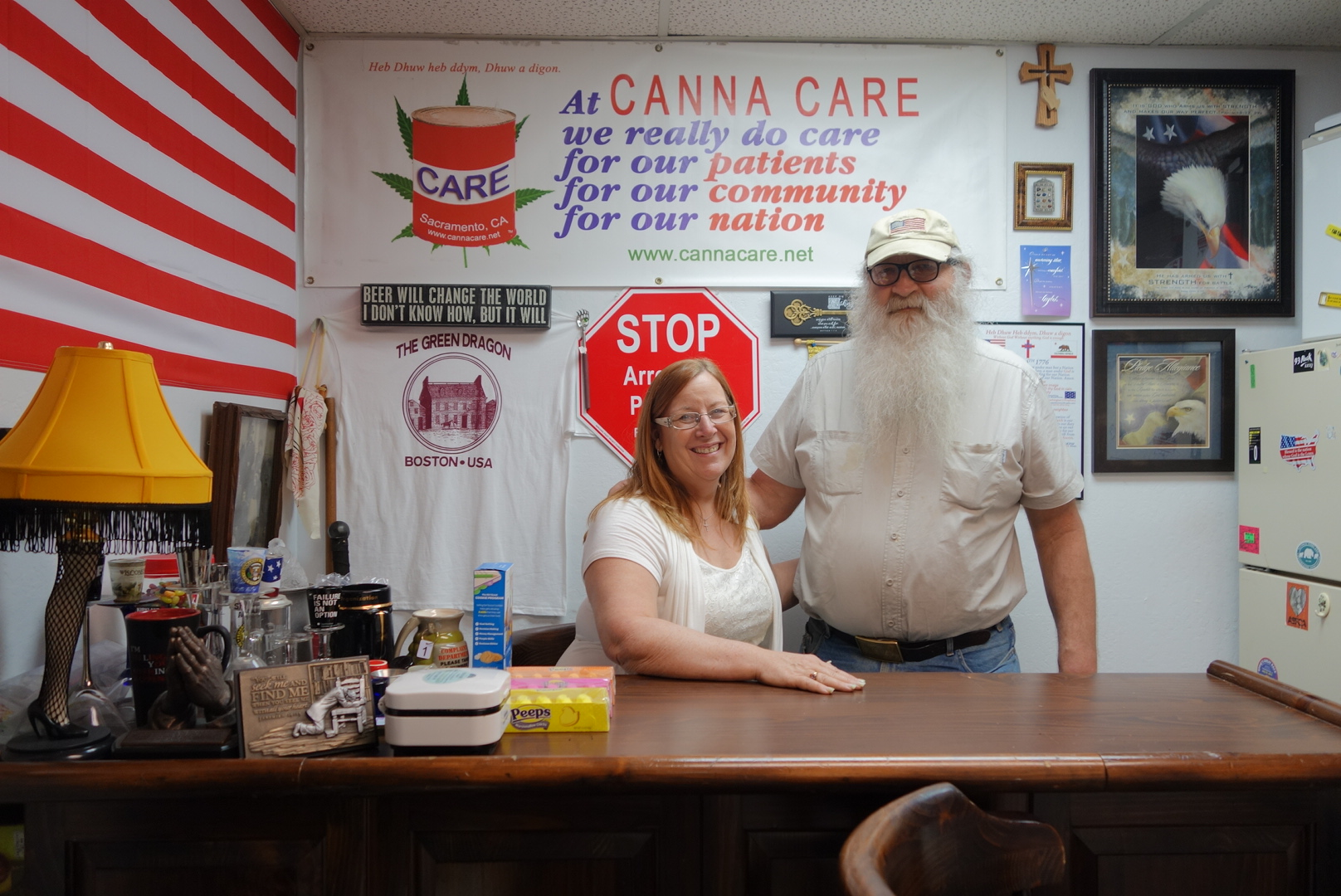 Bryan and Lanette Davies pose for a portrait at their   Christian-based  medical marijuana dispensary in Sacramento in February 2014.