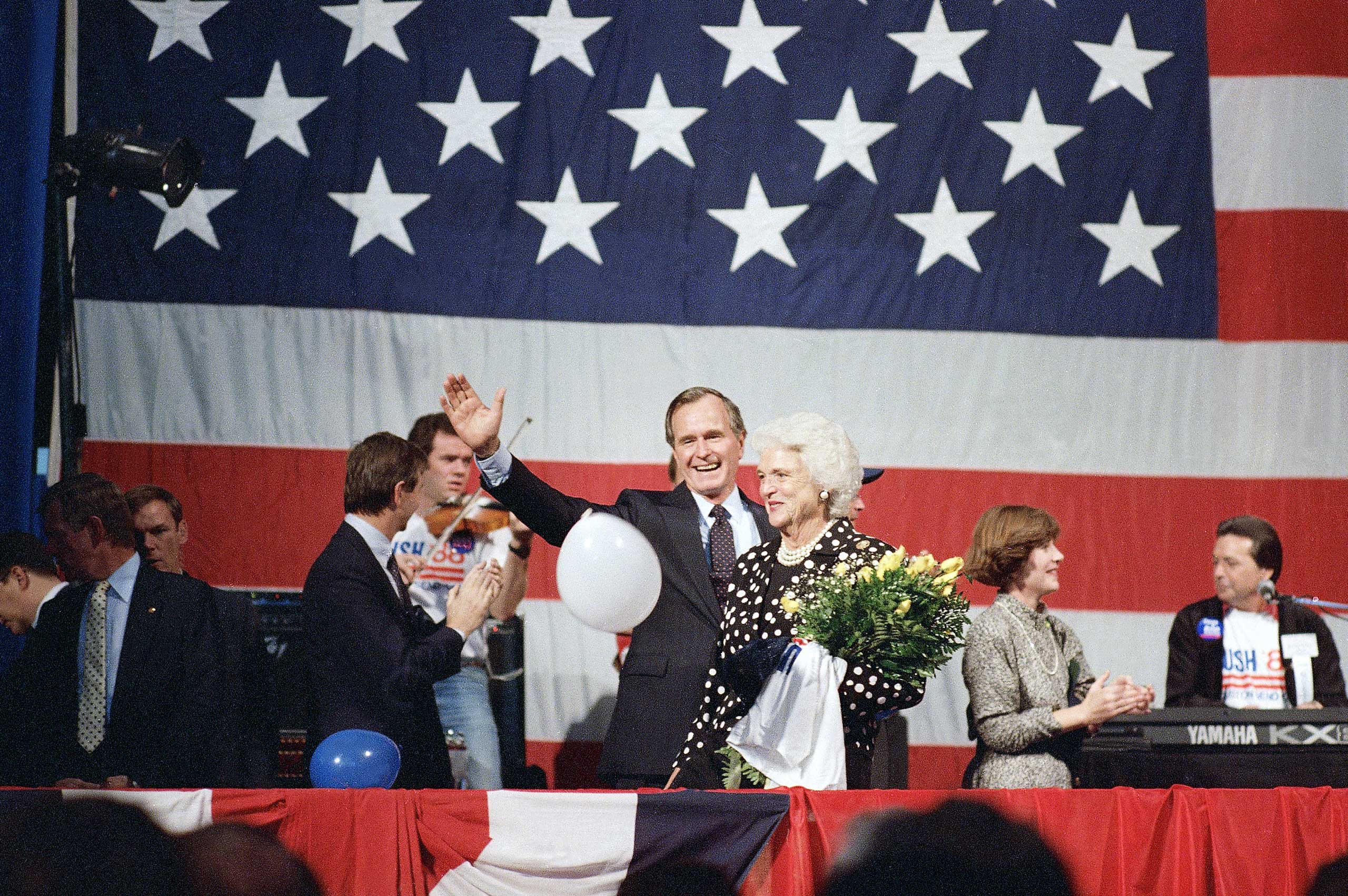 George H.W. Bush announced his first presidential campaign on Oct. 12, 1987, in Houston, Texas, with a speech about his work as vice president.