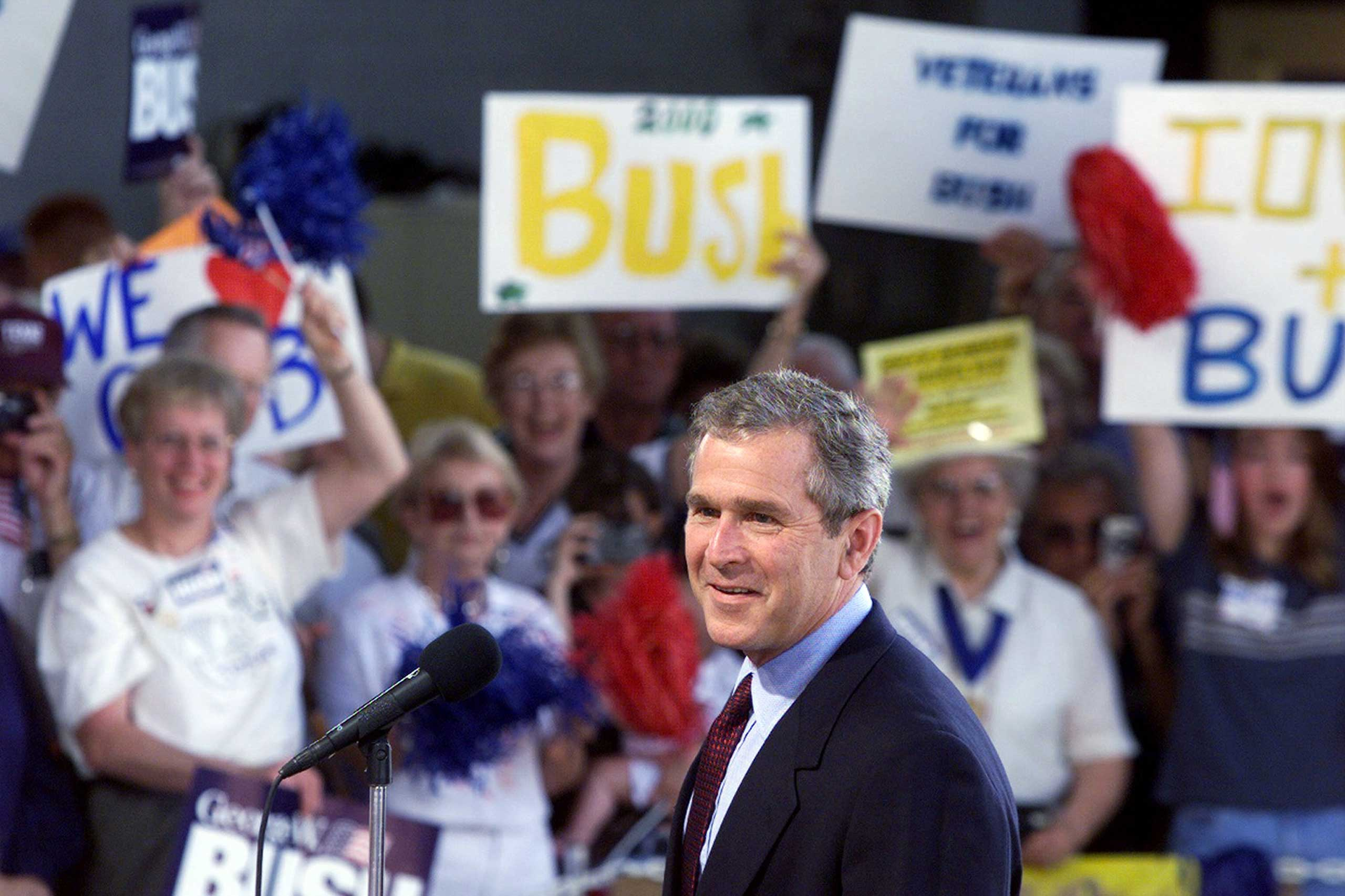 "George W. Bush launched his first campaign on June 12, 1999, in Cedar Rapids, Iowa, with a speech about ""compassionate conservatism."""