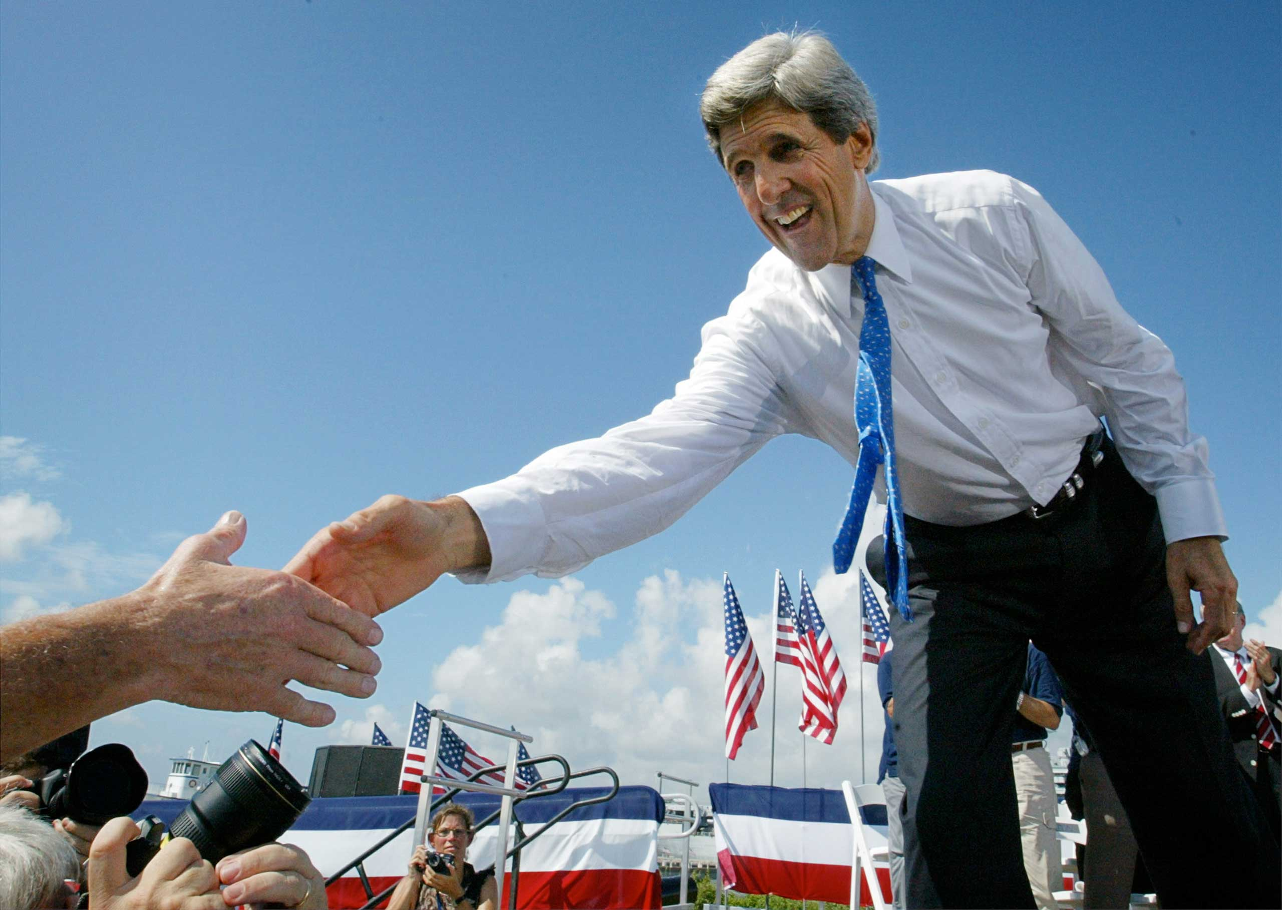 John Kerry launched his presidential campaign on Sept. 2, 2003, in Mt. Pleasant, S.C., with a speech about the Iraq War.