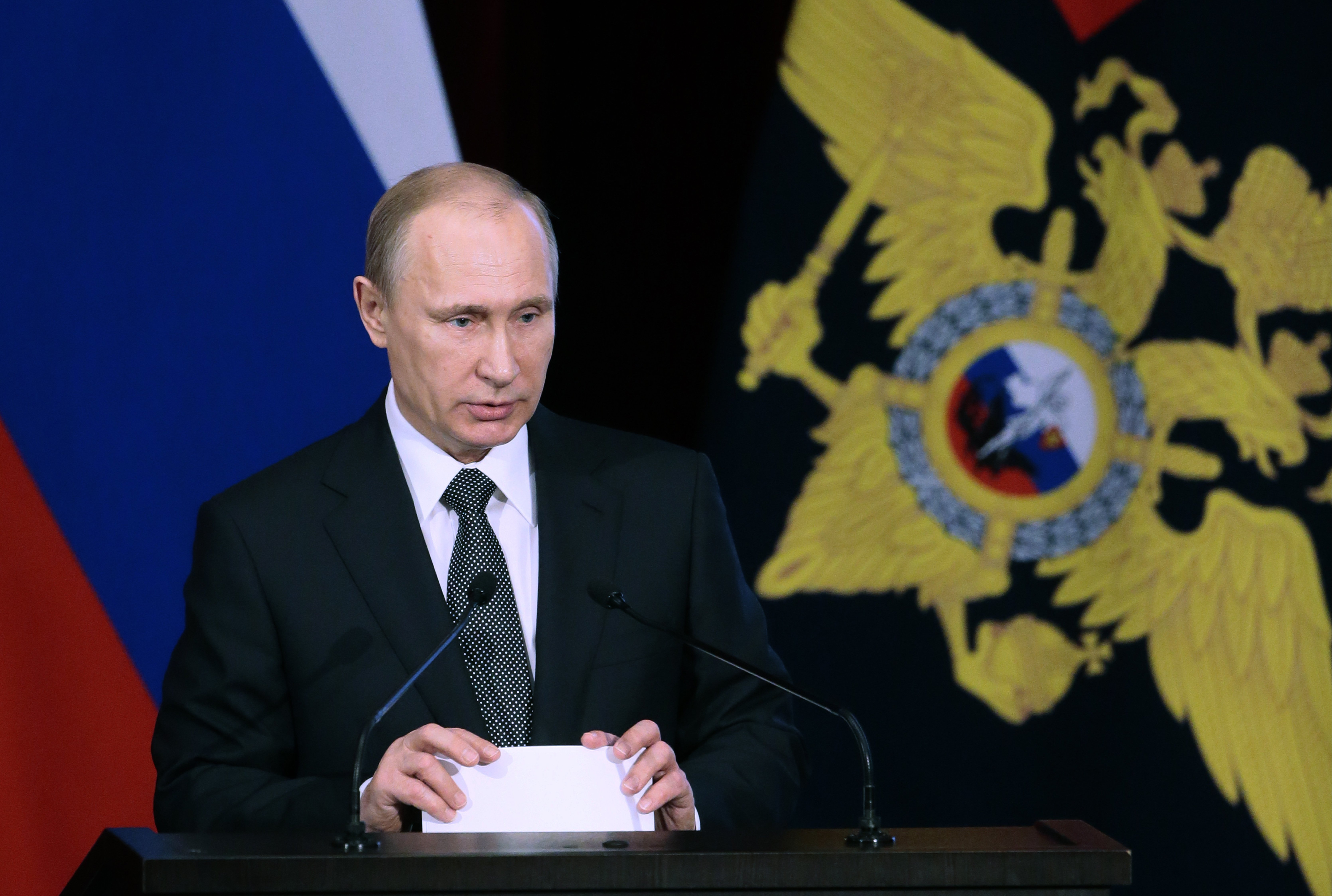 Russian president Vladimir Putin addresses a meeting of the Russian Interior Ministry's Collegium on March4, 2015 in Moscow.