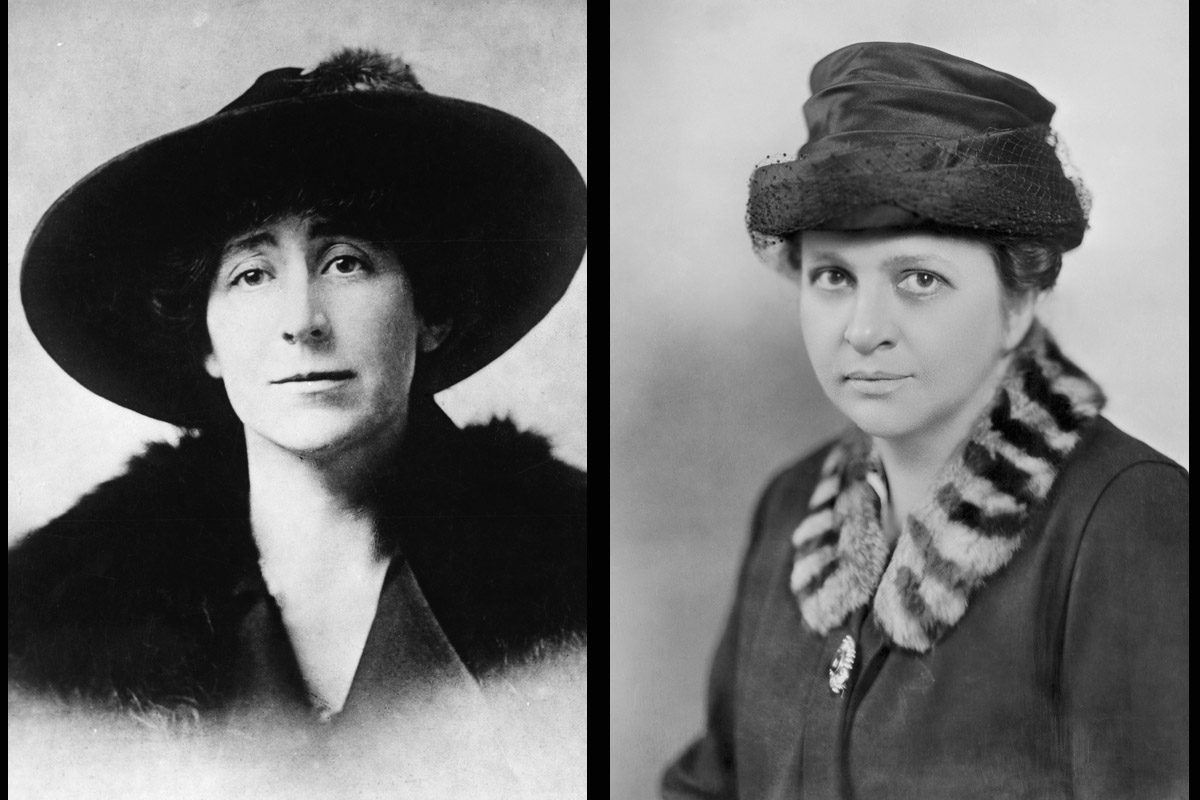 Jeannette Rankin pictured in 1916 (L) and Frances Perkins in 1928 (R)