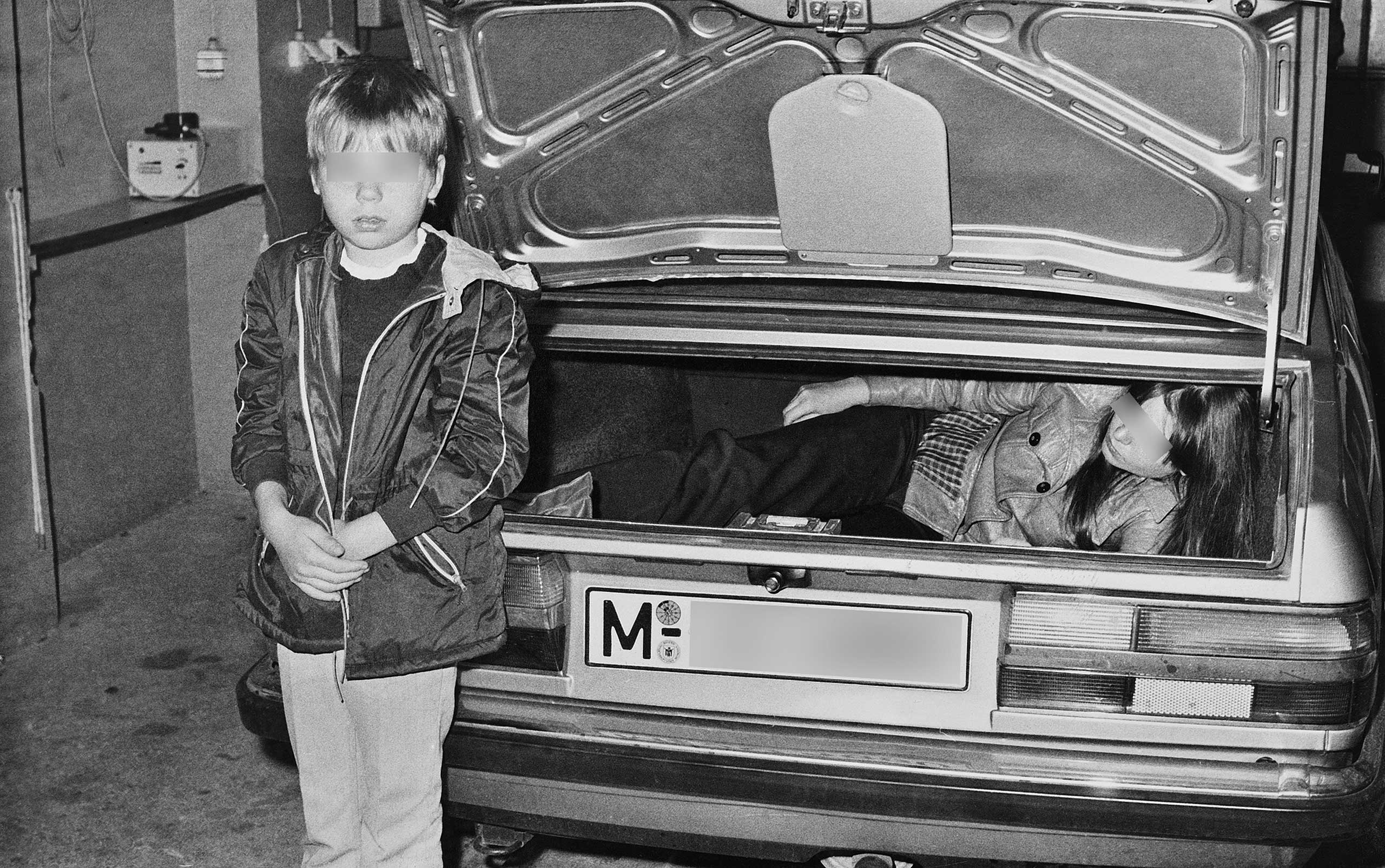 Documentation of a failed escape attempt by a mother and son on Sept. 12, 1983, around half past midnight, at border crossing point Marienborn/freeway in the trunk of BMW car with Munich license plates. Both the escape helper and the mother and son were forced to reenact the attempt in a custom's building immediately after they were caught.