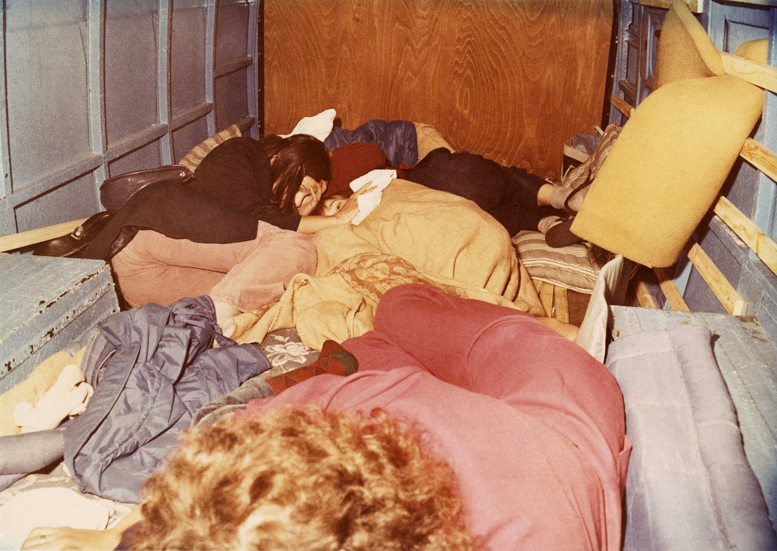 Hiding place of a family of five in a small van, Aug. 1972. The escape attempt failed.