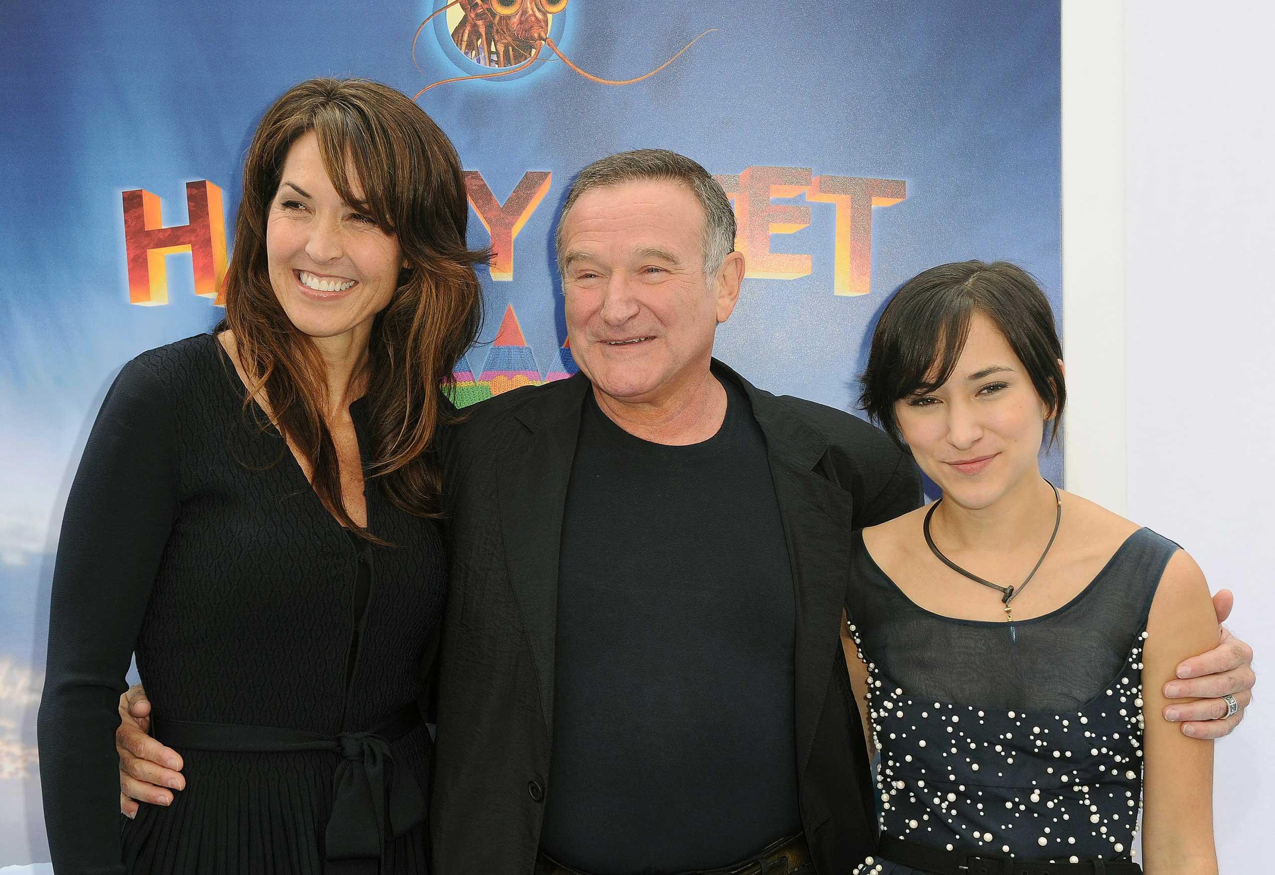Susan Schneider, Robin Williams, and Zelda Williams in 2011.