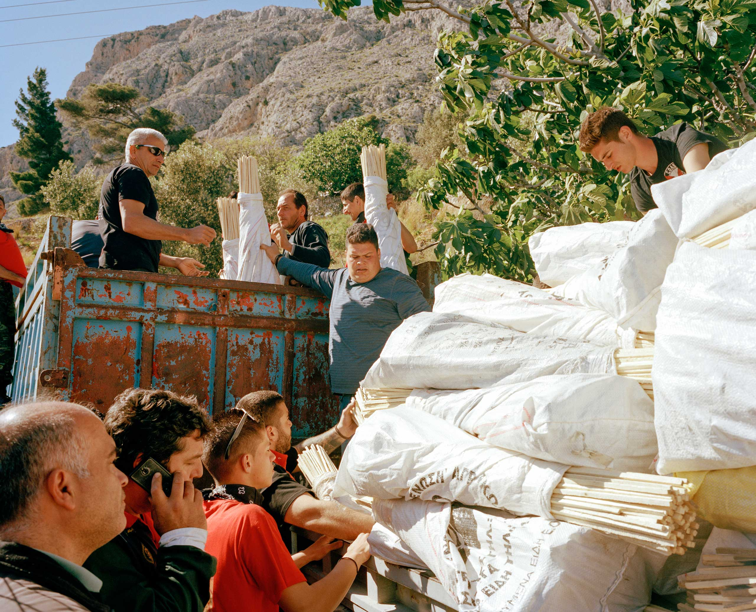 Team Aeolos load 27,500 rockets on a lorry from their hidden storehouse in the mountains.