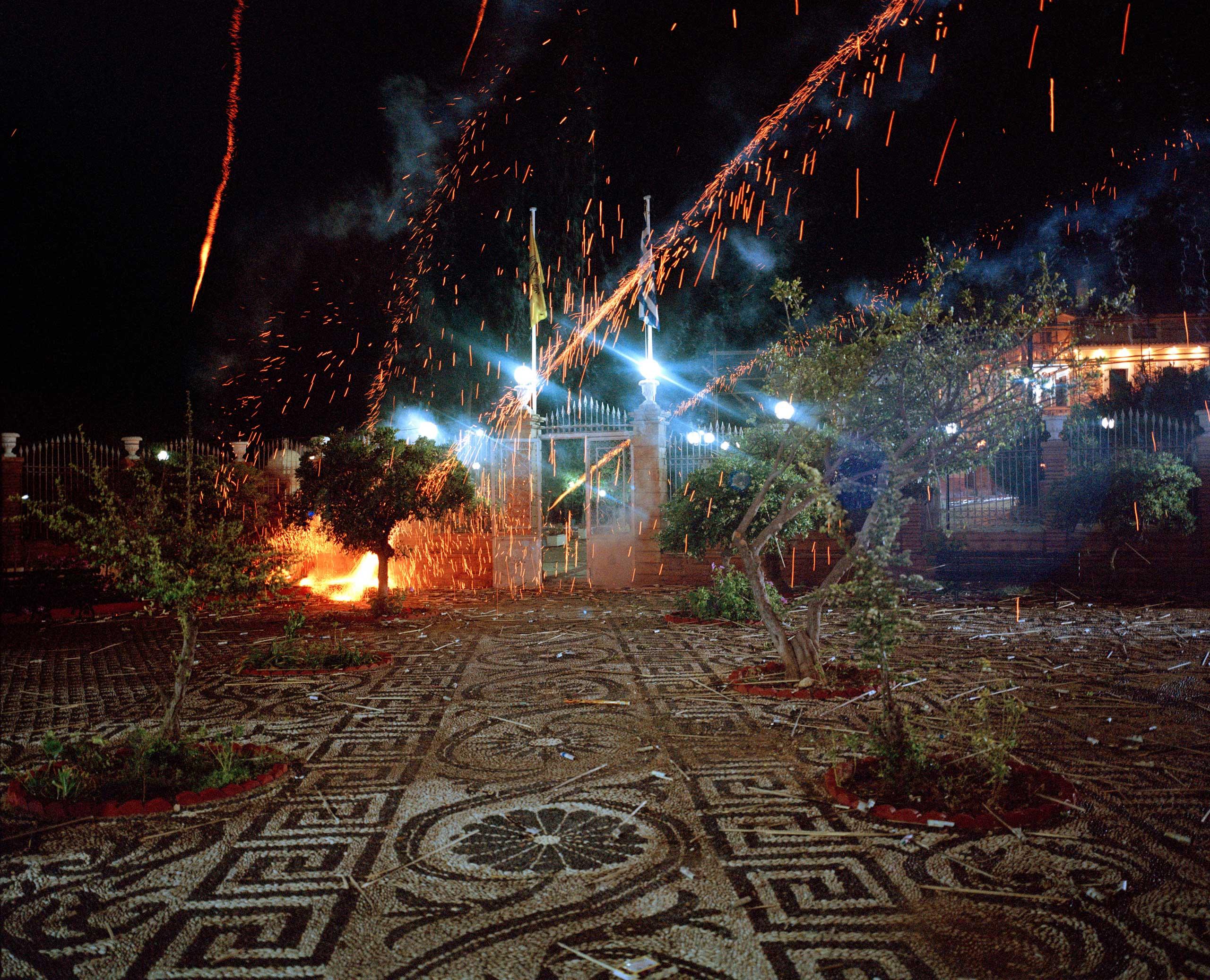 Rockets rain down on the church of Panageia Erithiani.