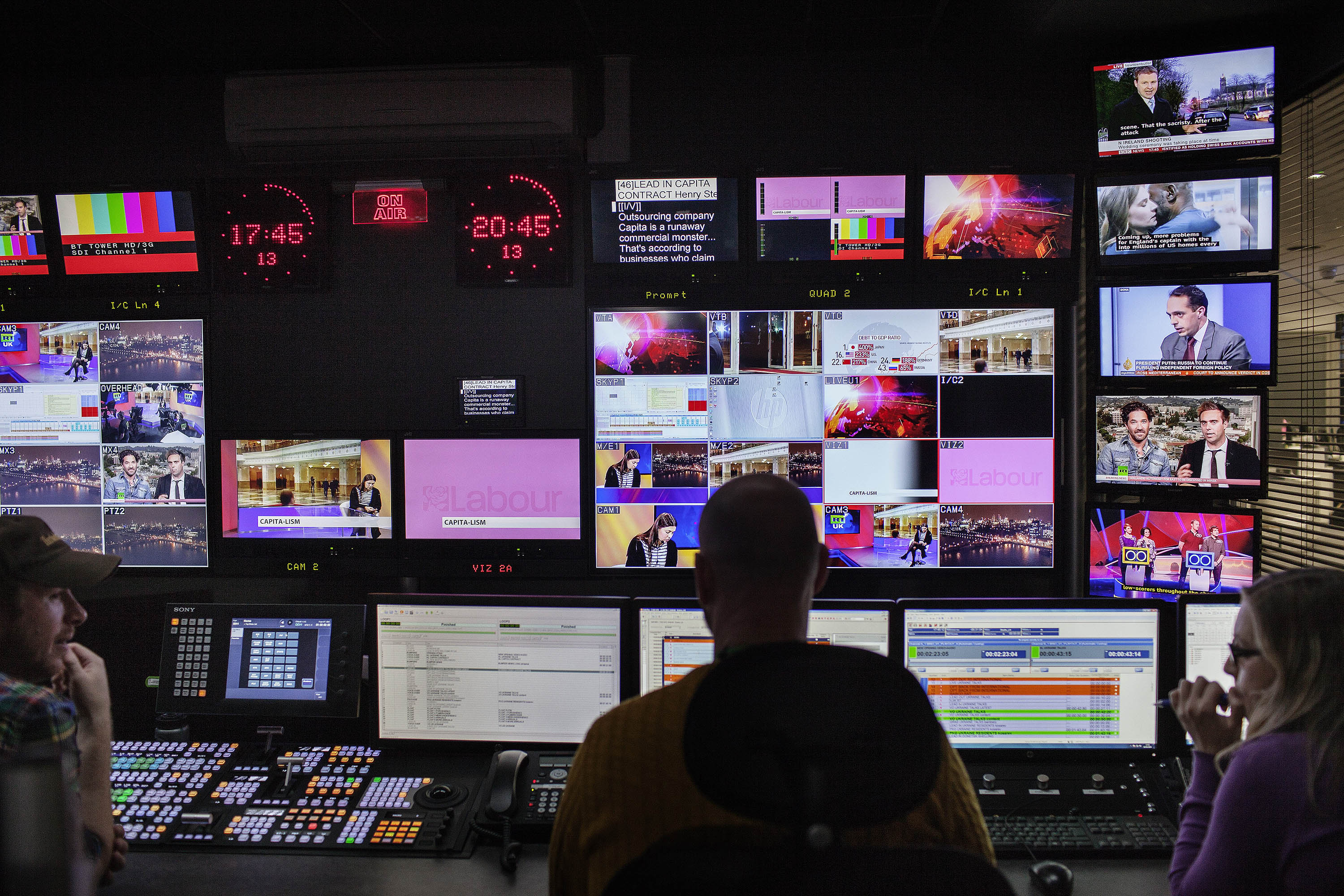 Production staff in the control room of RT's London studios in 2015.