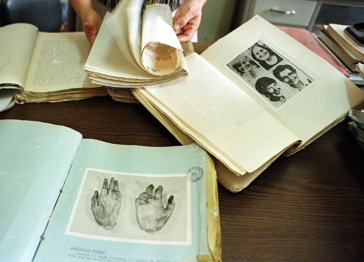 An April 1998 photo shows documents of the nuns Ita Ford, Maura Clarke, Dorothy Kazel and layworker Jean Donovan who were assassinated on Dec. 1980 near San Salvador, El Salvador.