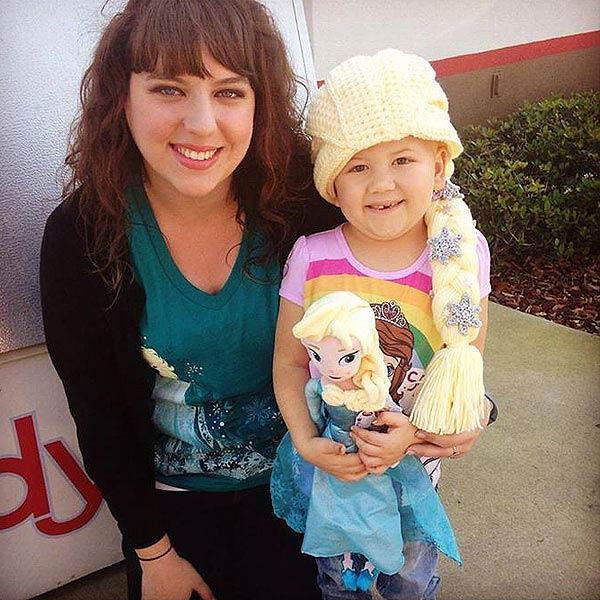 Samantha Mutschler with one of her hat recipients