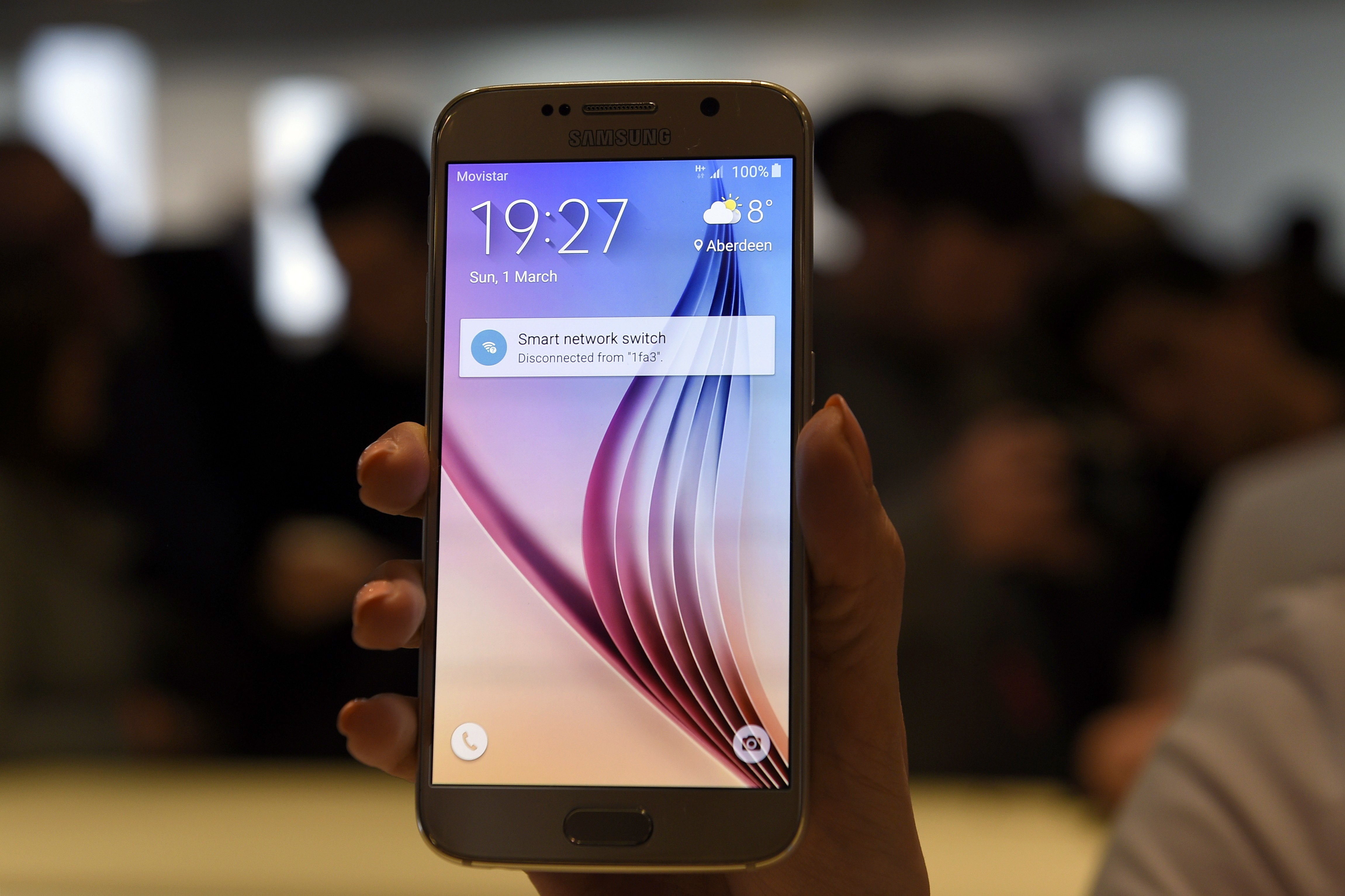 The Samsung Galaxy S6 is presented during the 2015 Mobile World Congress in Barcelona on March 1, 2015.
