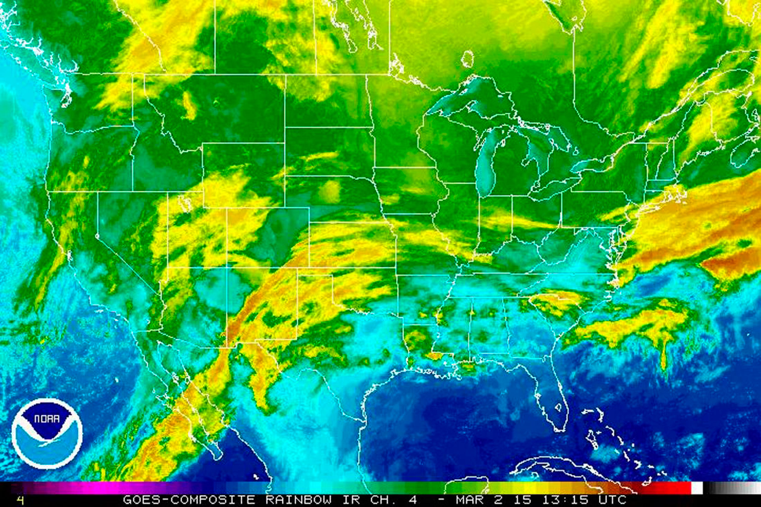 An infrared view of U.S. shows a storm poised to hit northern states across the nation with more snow and ice on March 2, 2015.