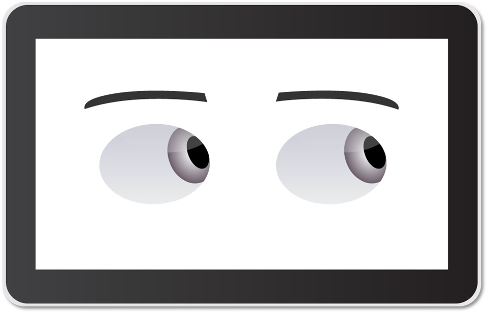 A view of Sawyer's  face  screen, showing the robot's eyes looking to the side.