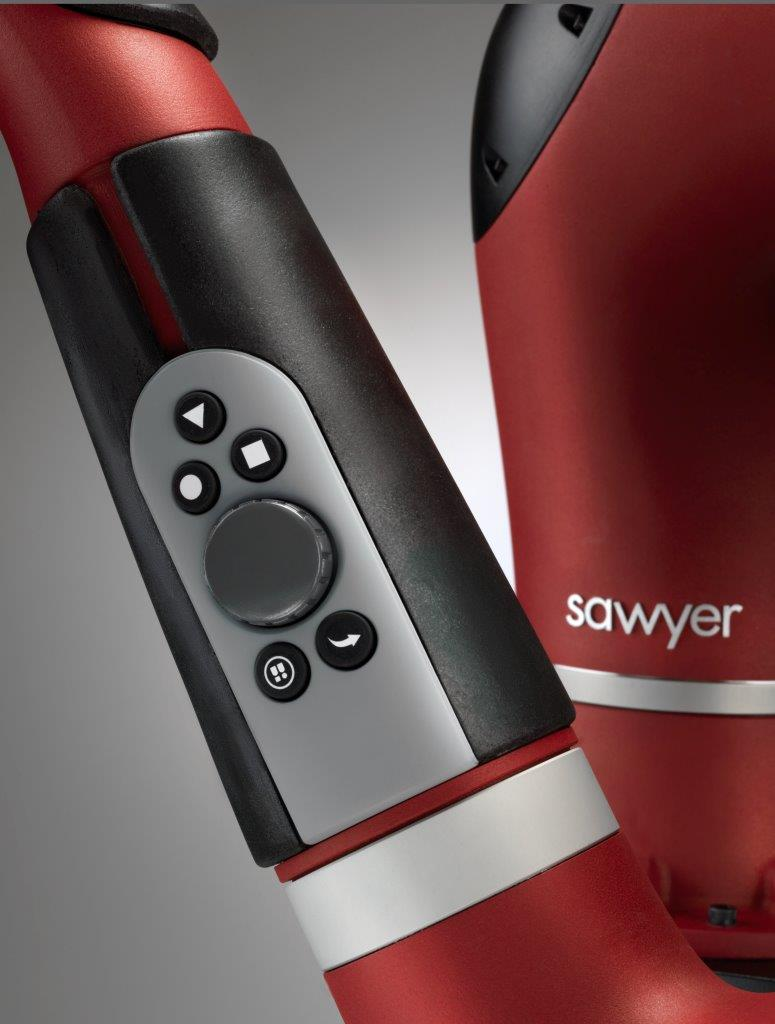 A view of the arm of Sawyer, a smart, collaborative robot by Boston-based robotic technology company Rethink Robotics.