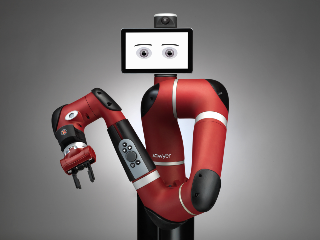 A view of Sawyer, a smart, collaborative robot by Boston-based robotic technology company Rethink Robotics.